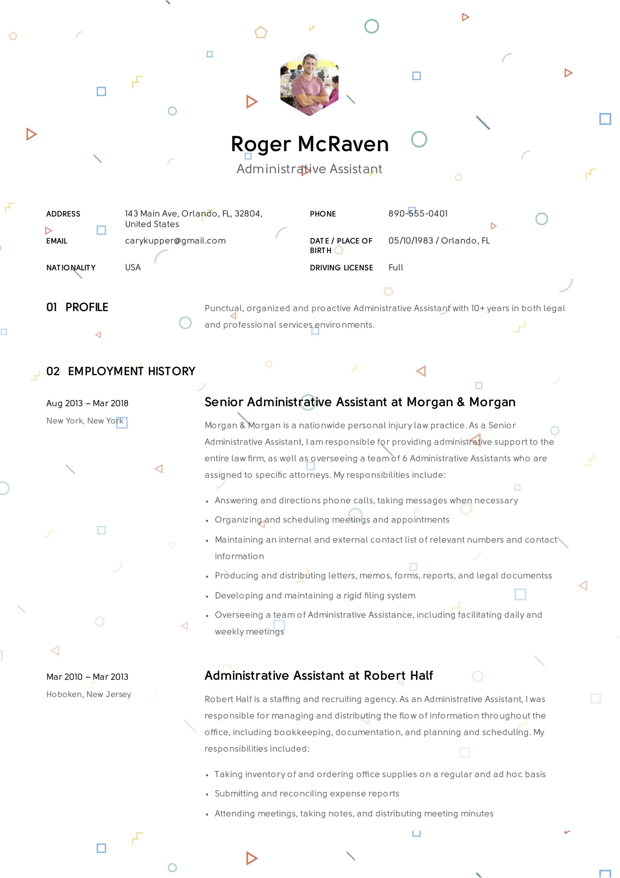 Creative Resume Administrative Assistant