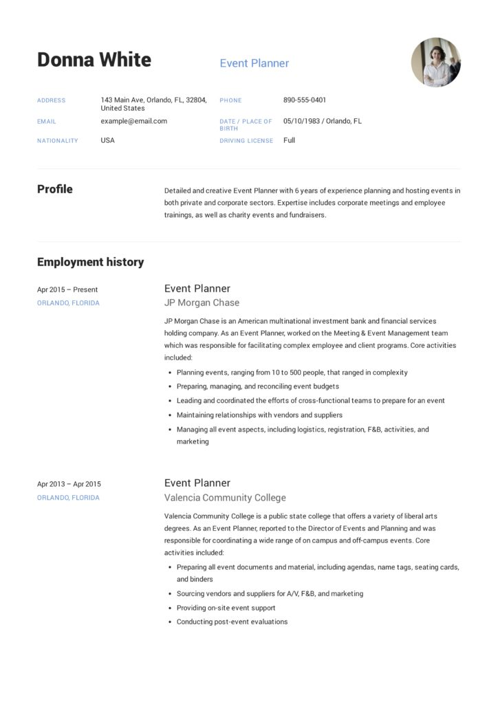 donna white event planner resume