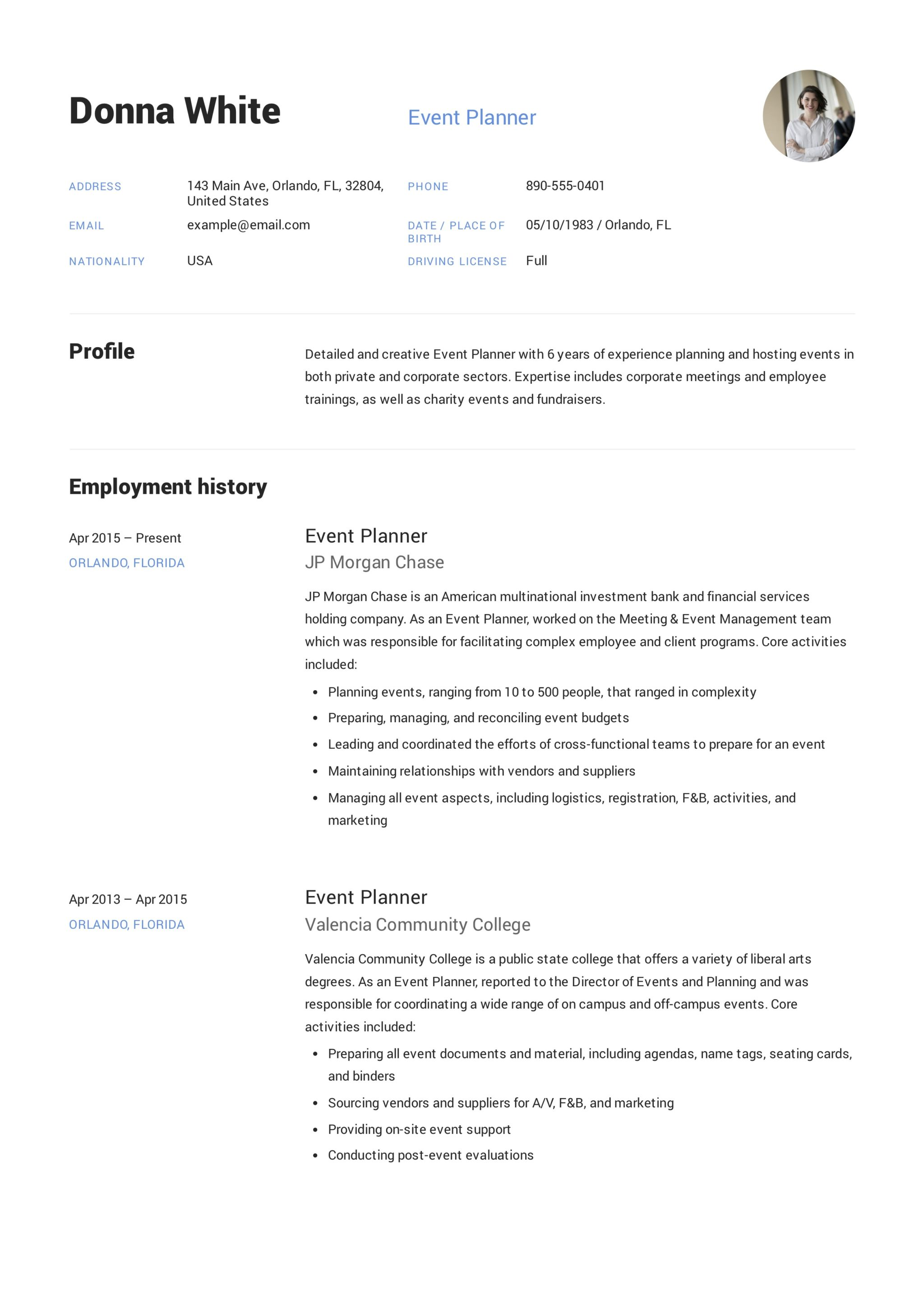 guide  event planner resume     12 samples