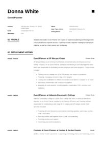 Event Planner Example Resume