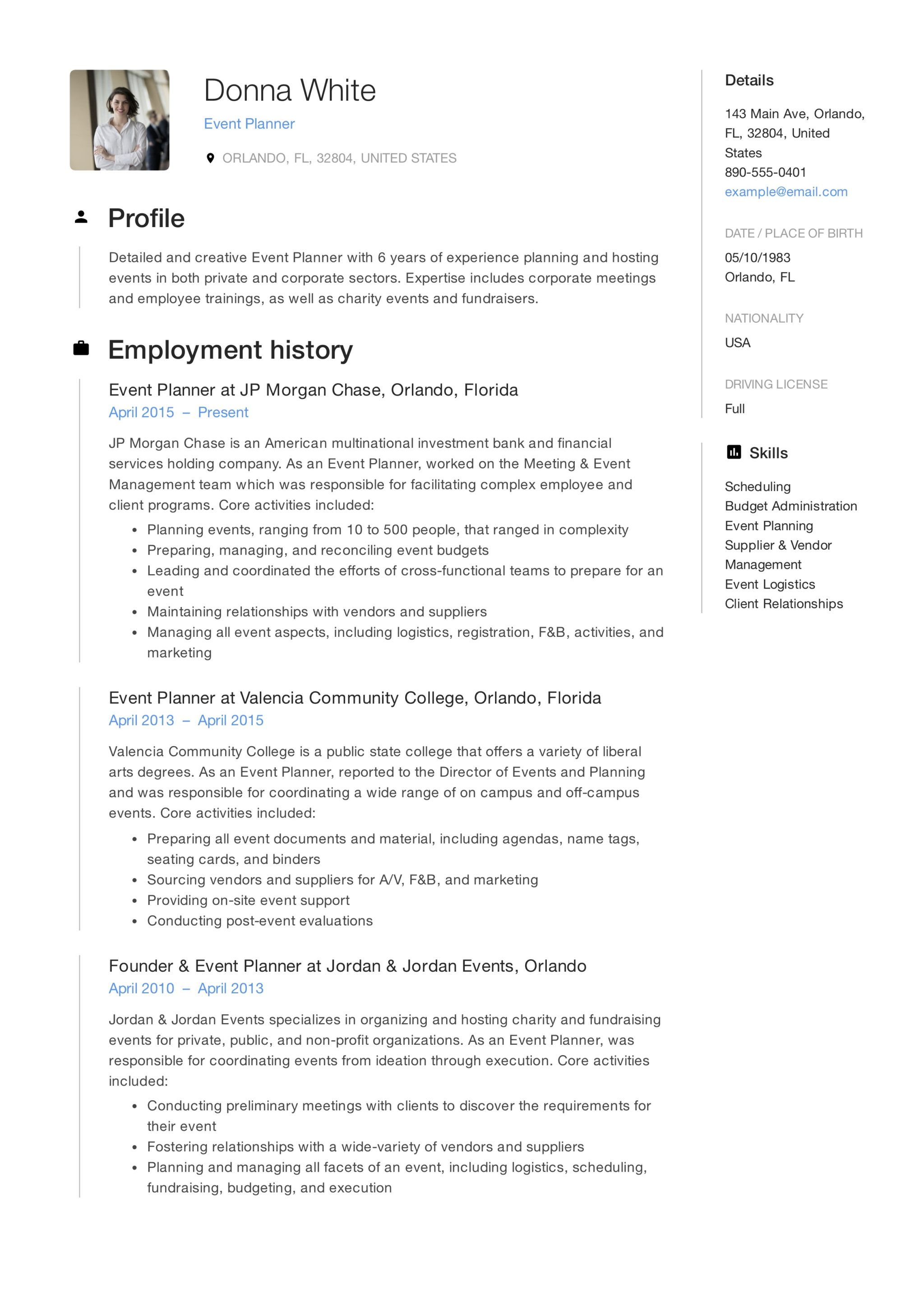 12 event planner resume sample s