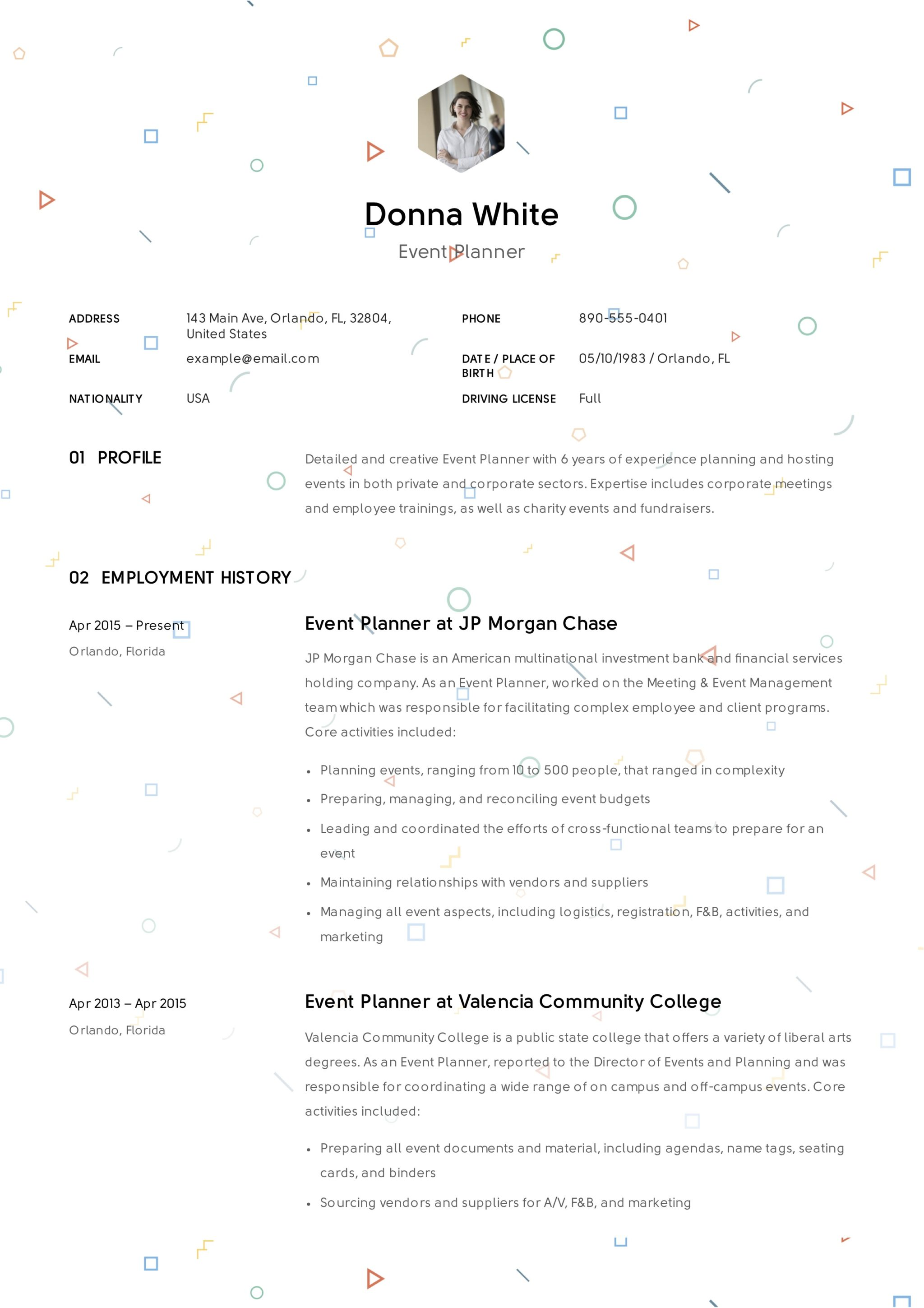 Event-Planner-Resume-Template  Curriculum Vitae Examples on bangladeshi structure, for historians, personal statement, college art instructor, sri lanka, nurse educator, usa cv resume,