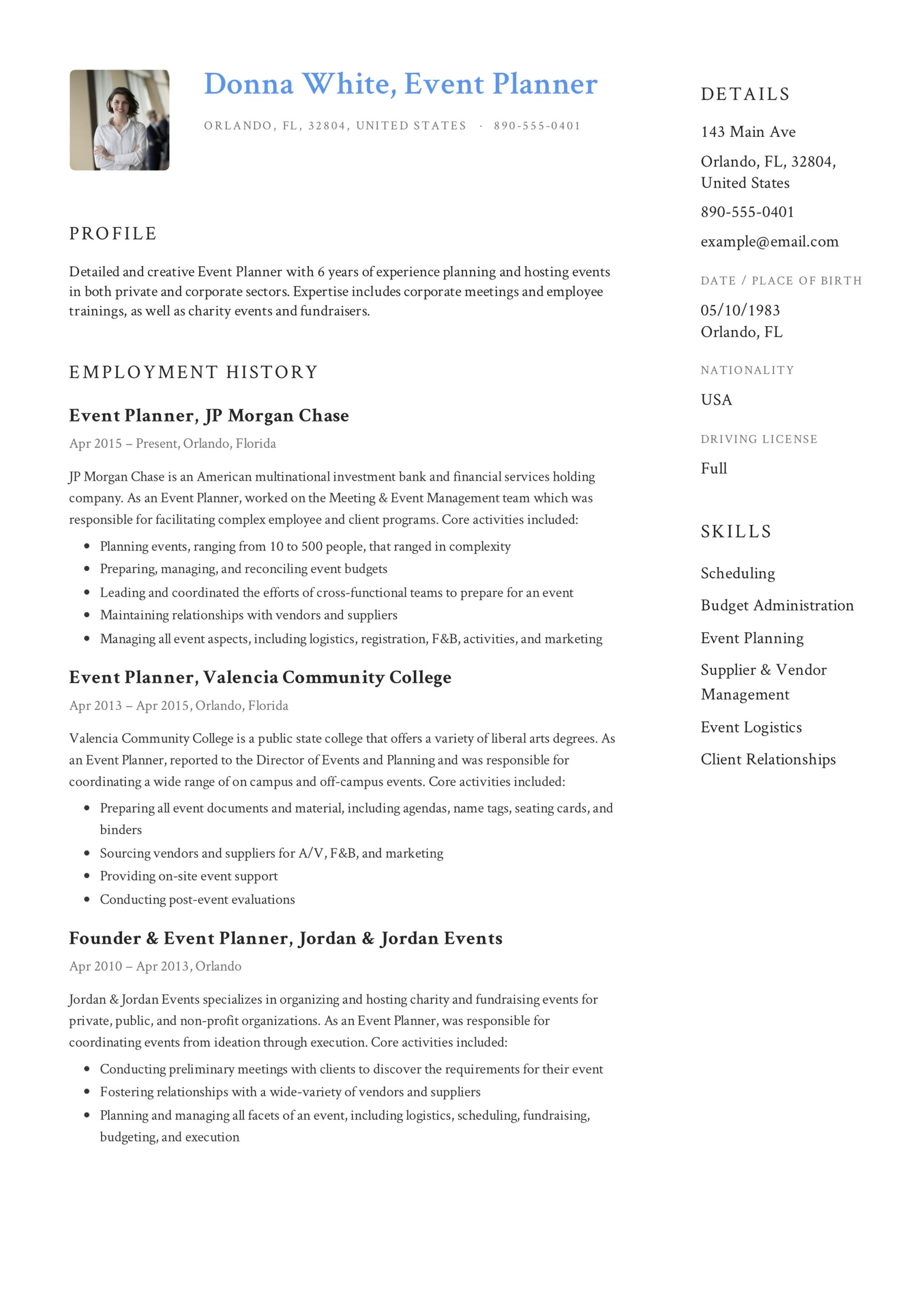 Event Planner Resume
