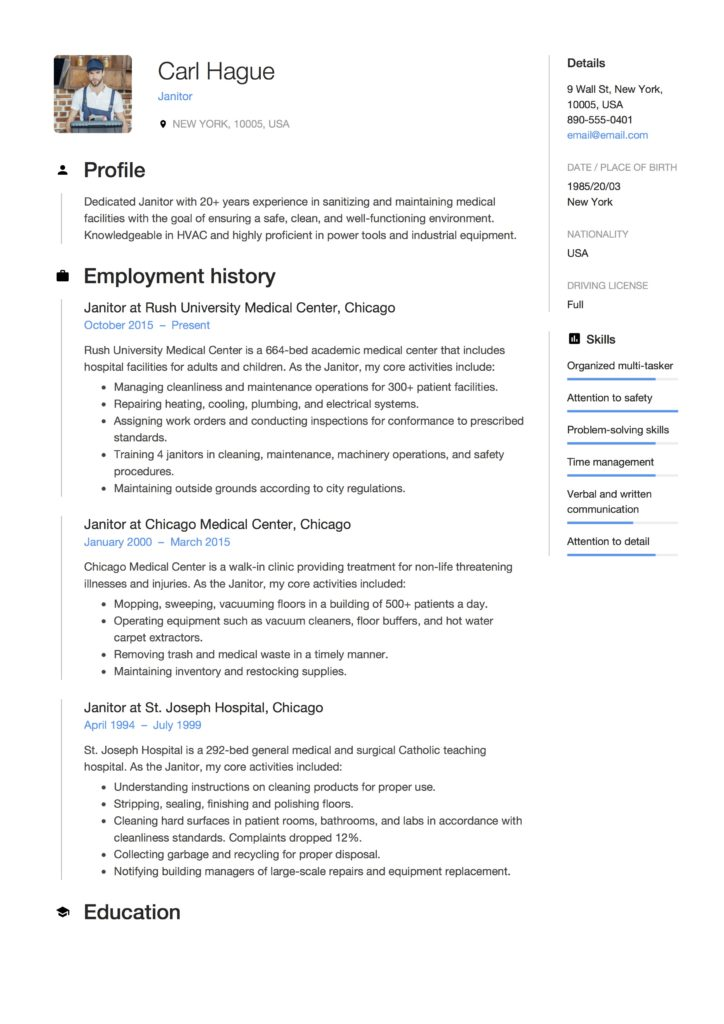 Download Janitor Resume Examples In PDF