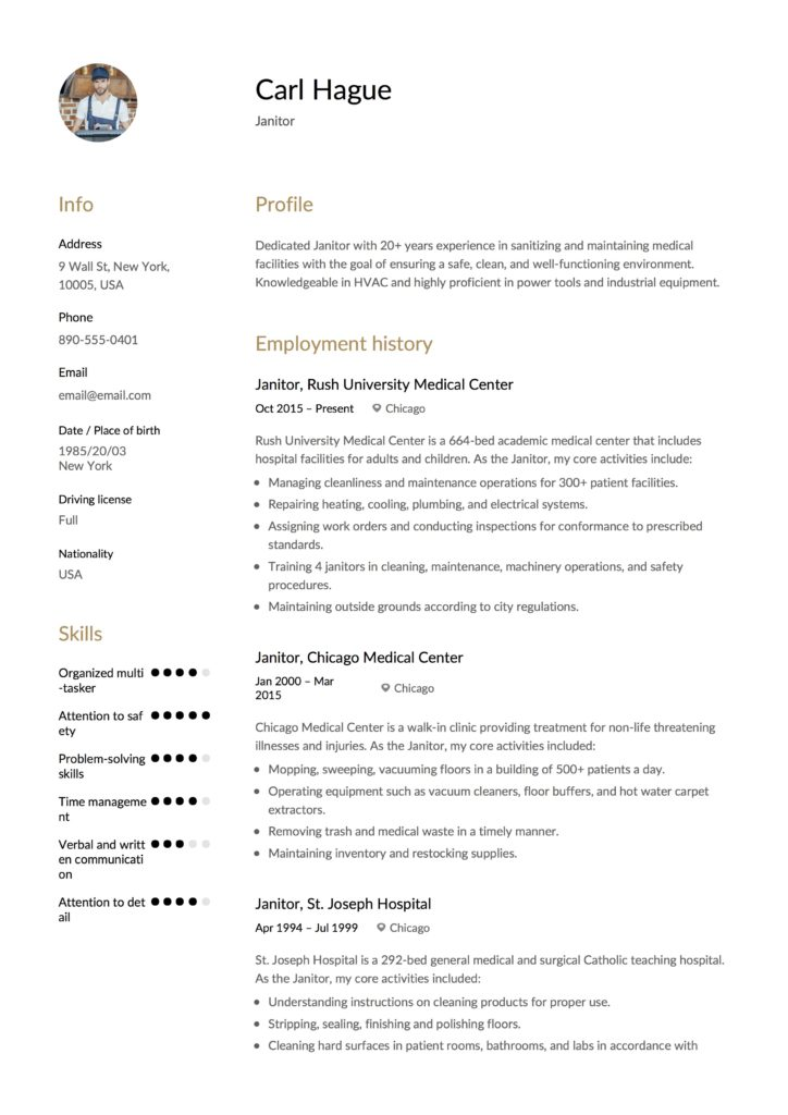 Full Guide: Janitor Resume Example [ + 12 Samples ] | PDF | 2019