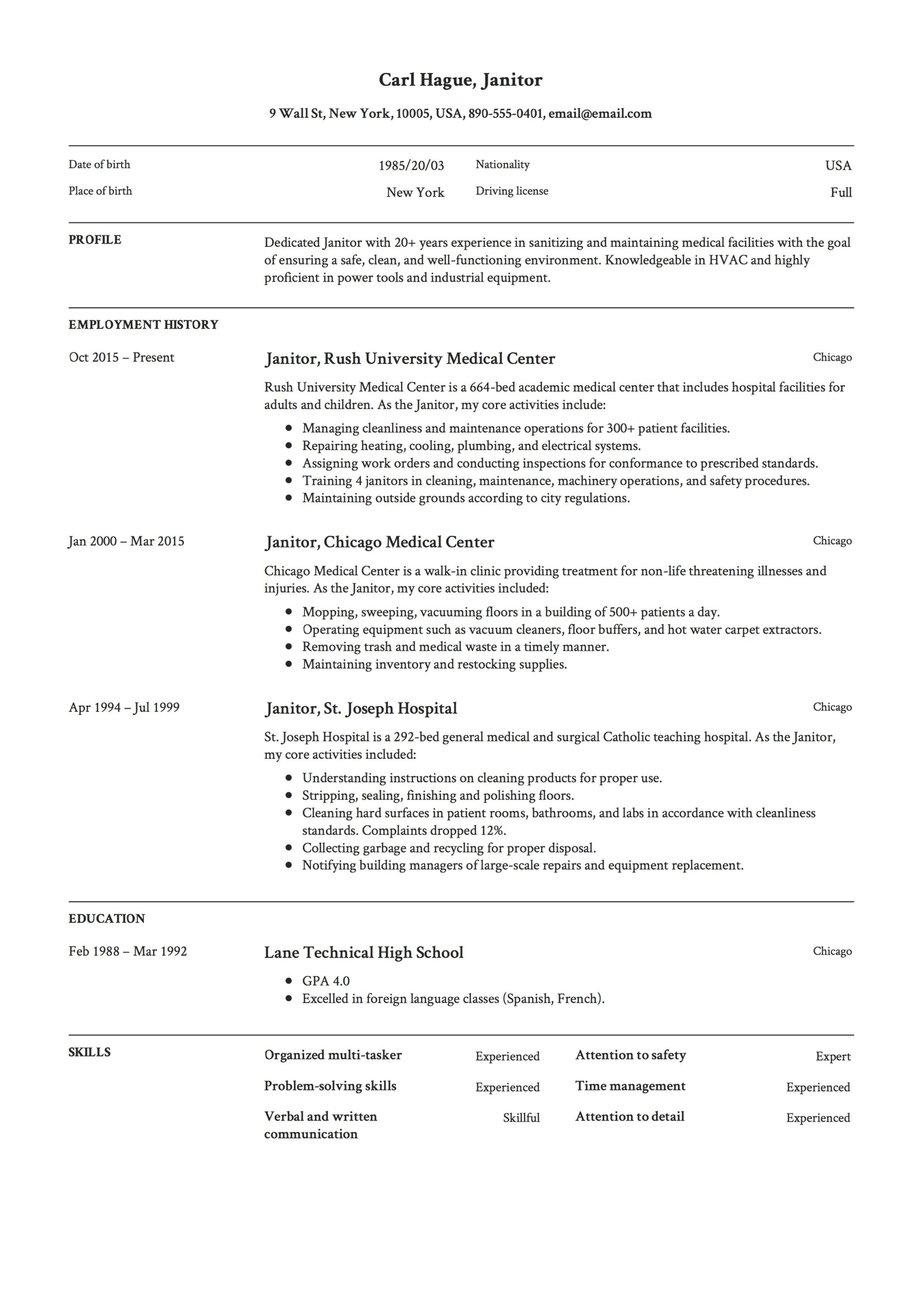 Erfreut Free Janitor Resume Samples Fotos - Beispiel Business ...
