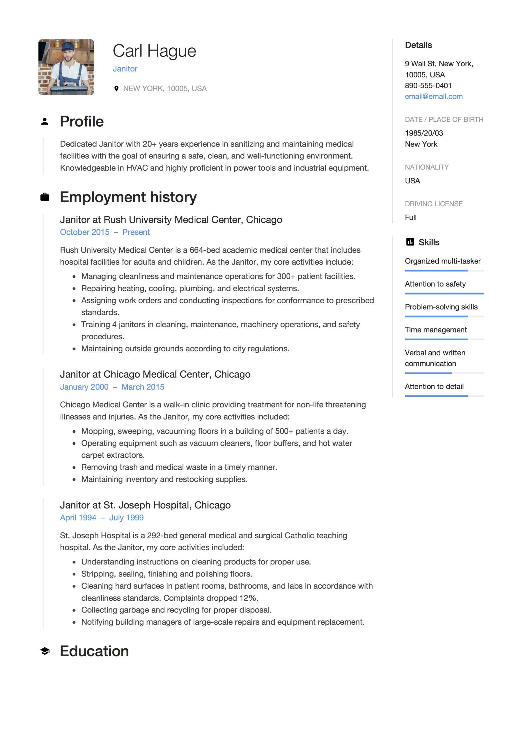 12 janitor resume sample s