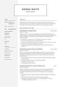 Resume Event Planner
