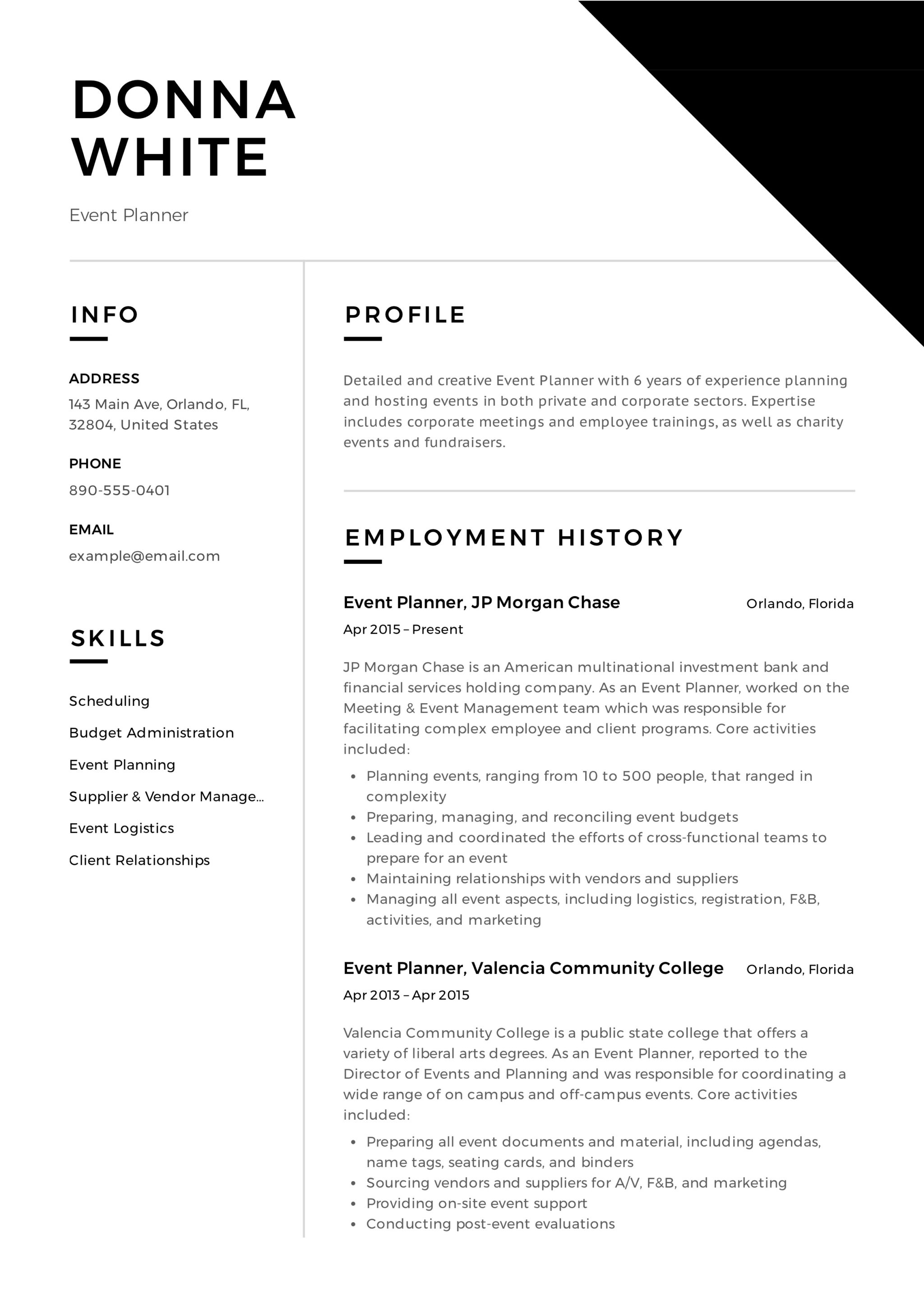12 Event Planner Resume Sample S 2018 Free Download