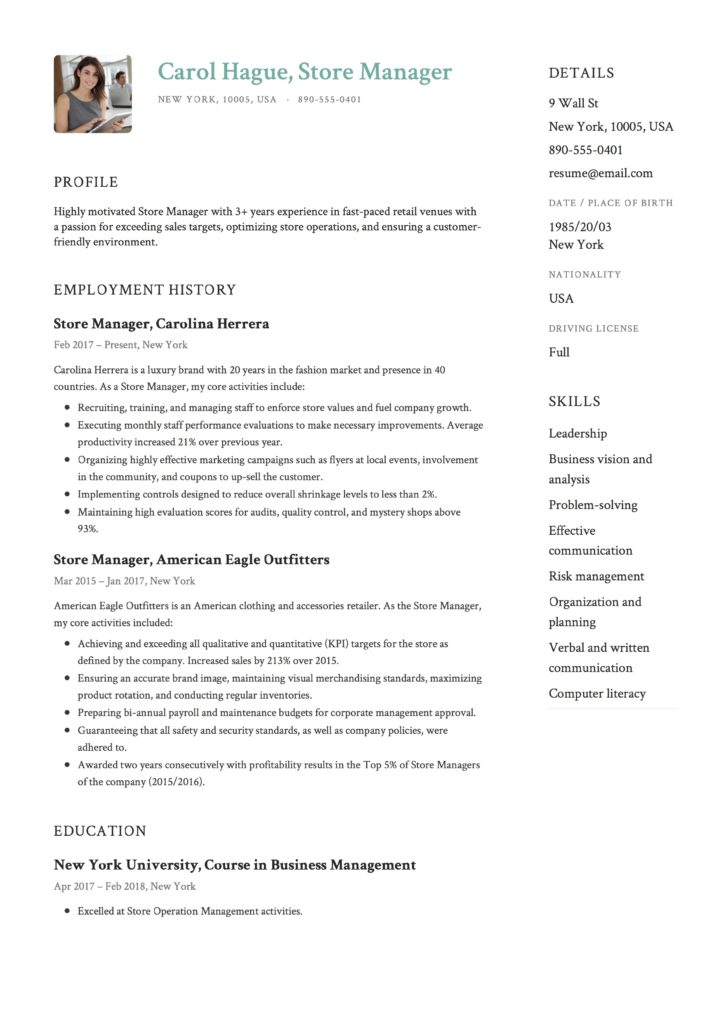 Resume Example Store Manager
