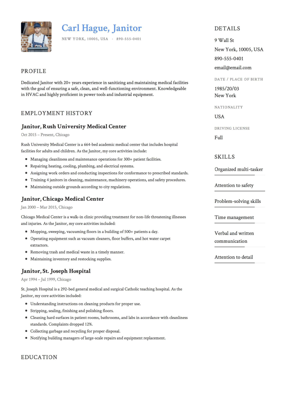 12 janitor resume sample s