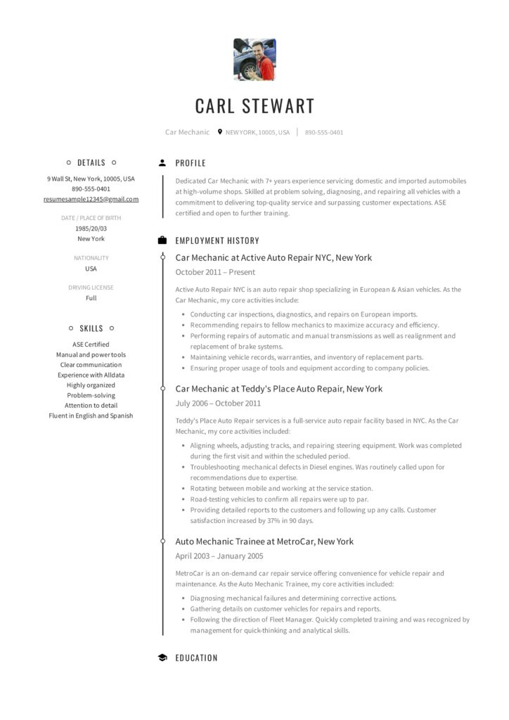 Full Guide Car Mechanic Resume 12 Resume Examples Pdf 2019