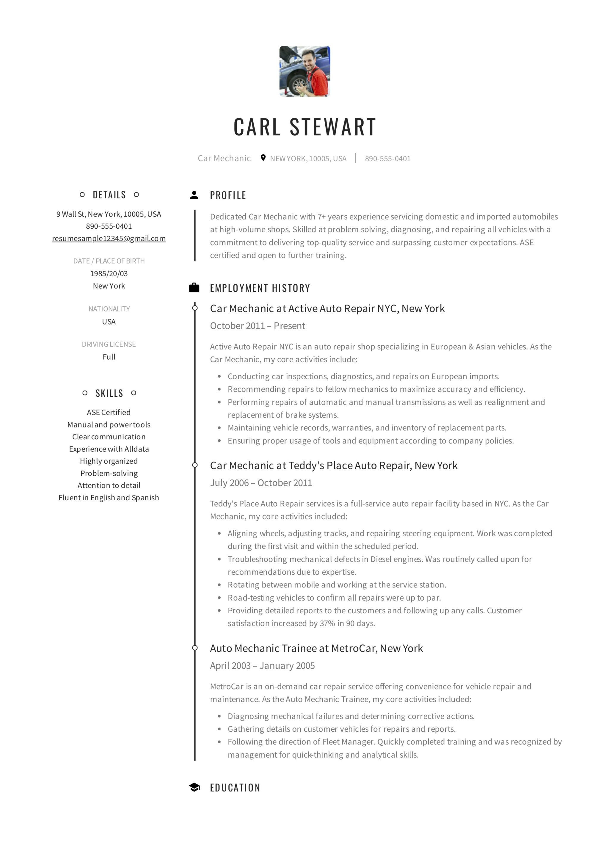 Resume Sample Car Mechanic