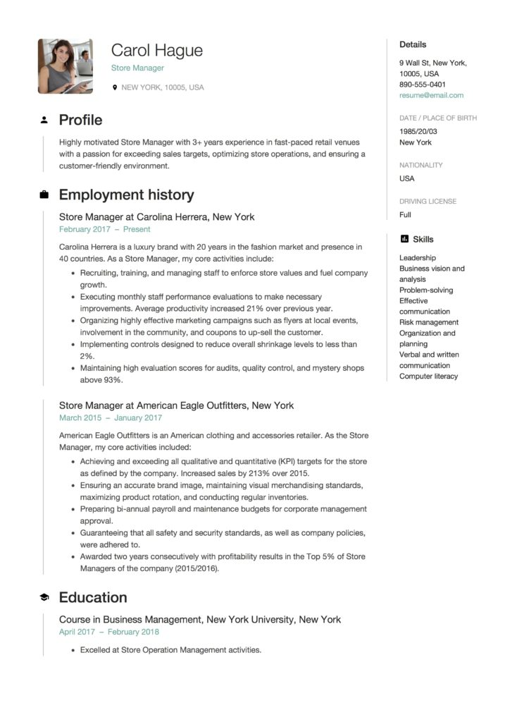 Resume Store Manager