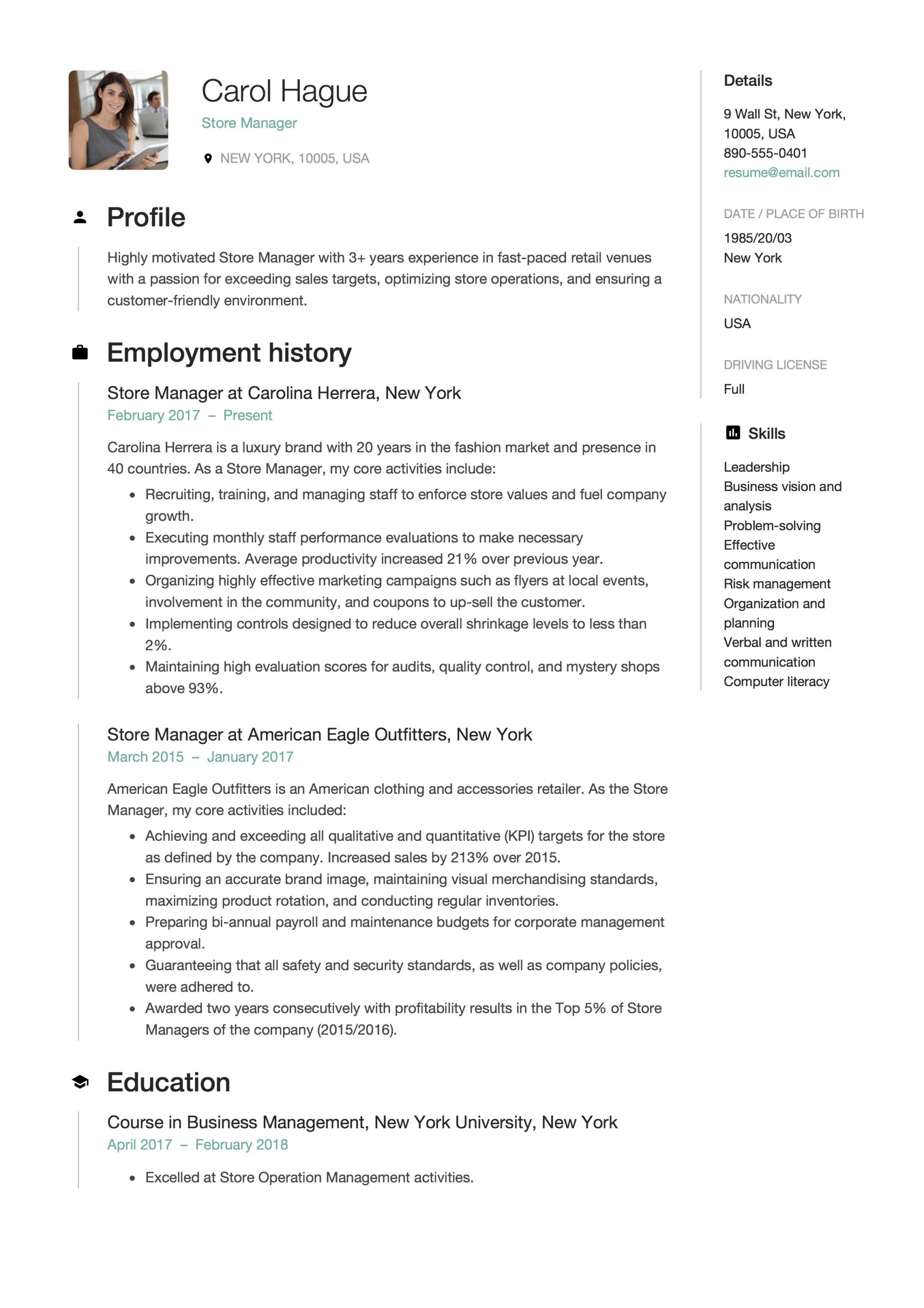 Store Manager Resume Guide Amp 12 Resume Samples Pdf 2019
