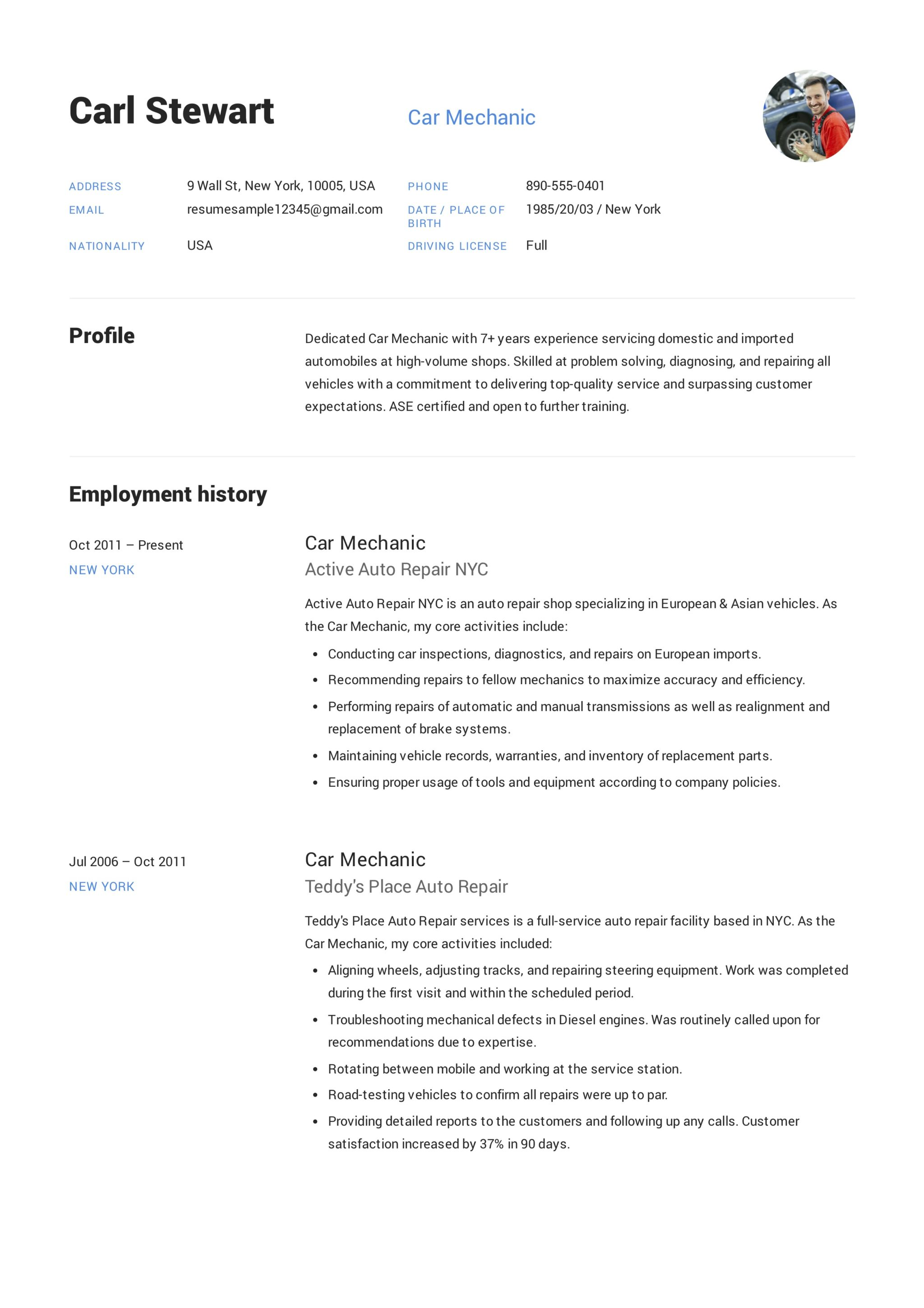 Car Mechanic Resume SampleS   Free Downloads
