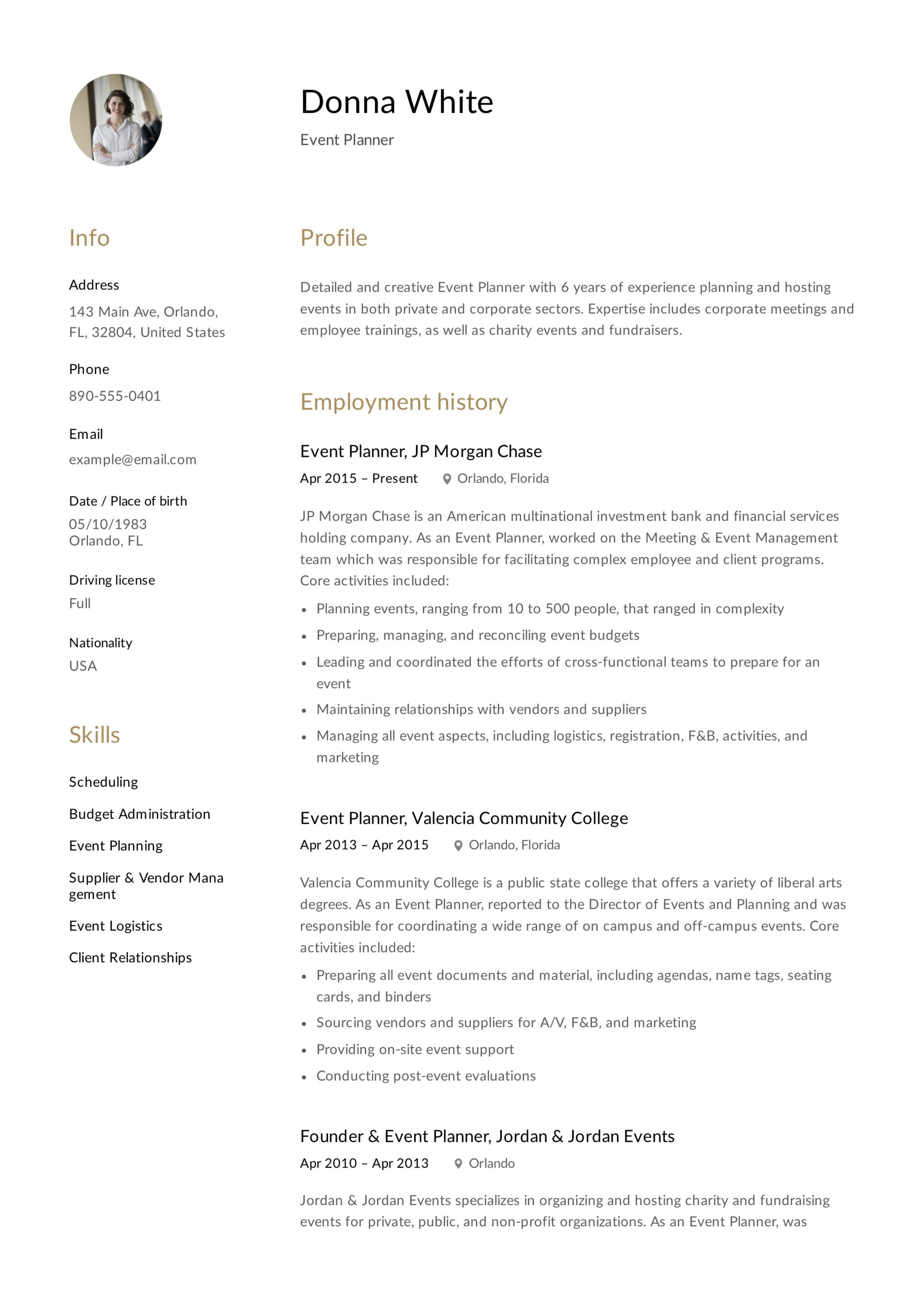 12 Free Event Planner Resume Samples and StepbyStep Guide