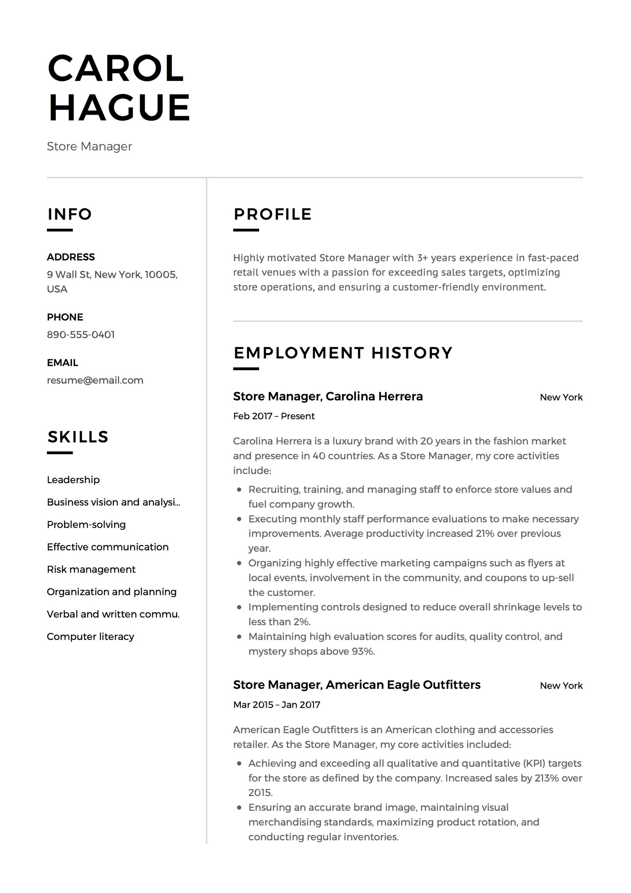 12 Store Manager Resume Sample S 2018 Free Downloads