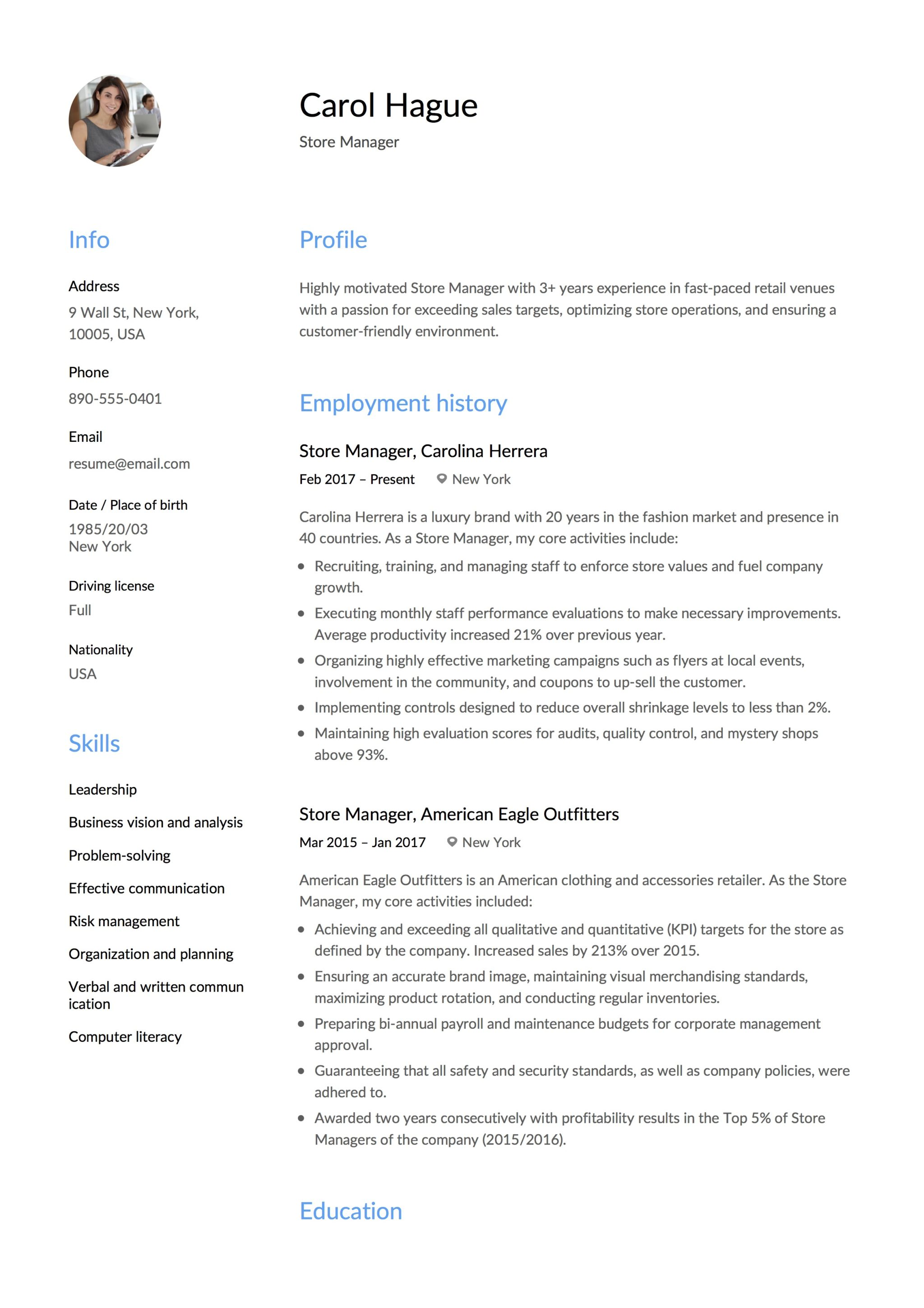 Store Manager Template Resume