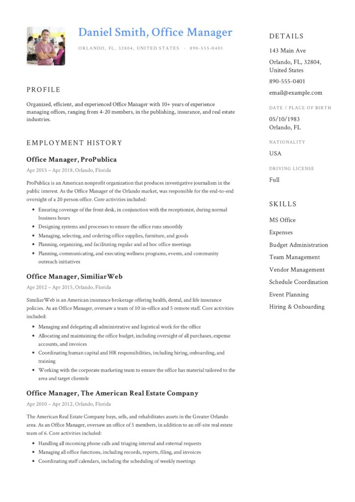 Daniel-Smith-Resume-Office-Manager-1-724x1024 Cover Letter For Resume Marketing Manager on samples restaurant, samples quality, retail store,