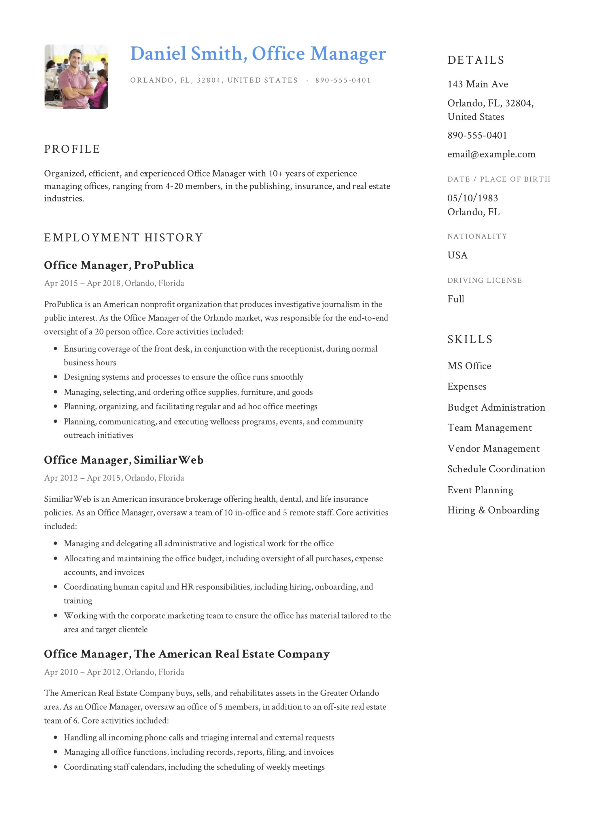 Daniel Smith Resume Office Manager. Office Manager Resume Sample