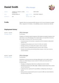 Design Template Resume Office Manager