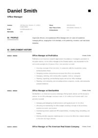 Minimal Design Resume Office Manager