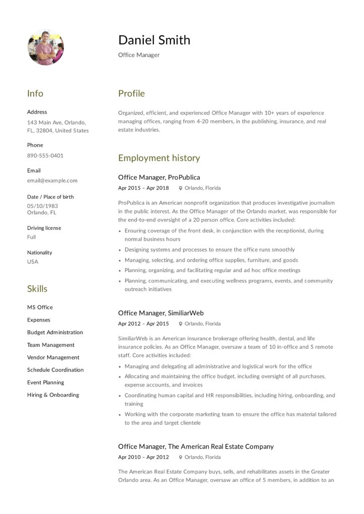 Office Manager Resume Example Design