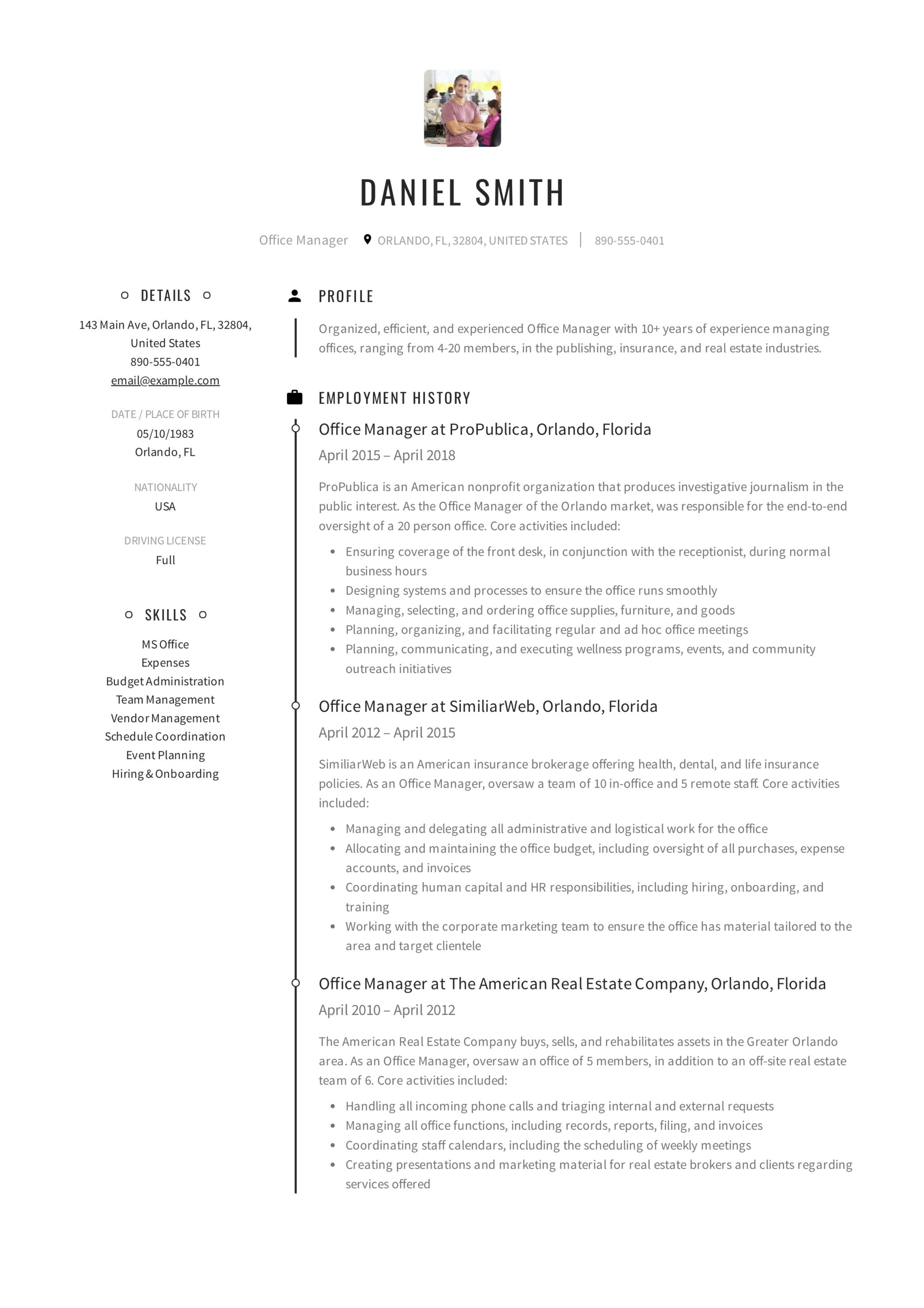 Resume Example Office Manager
