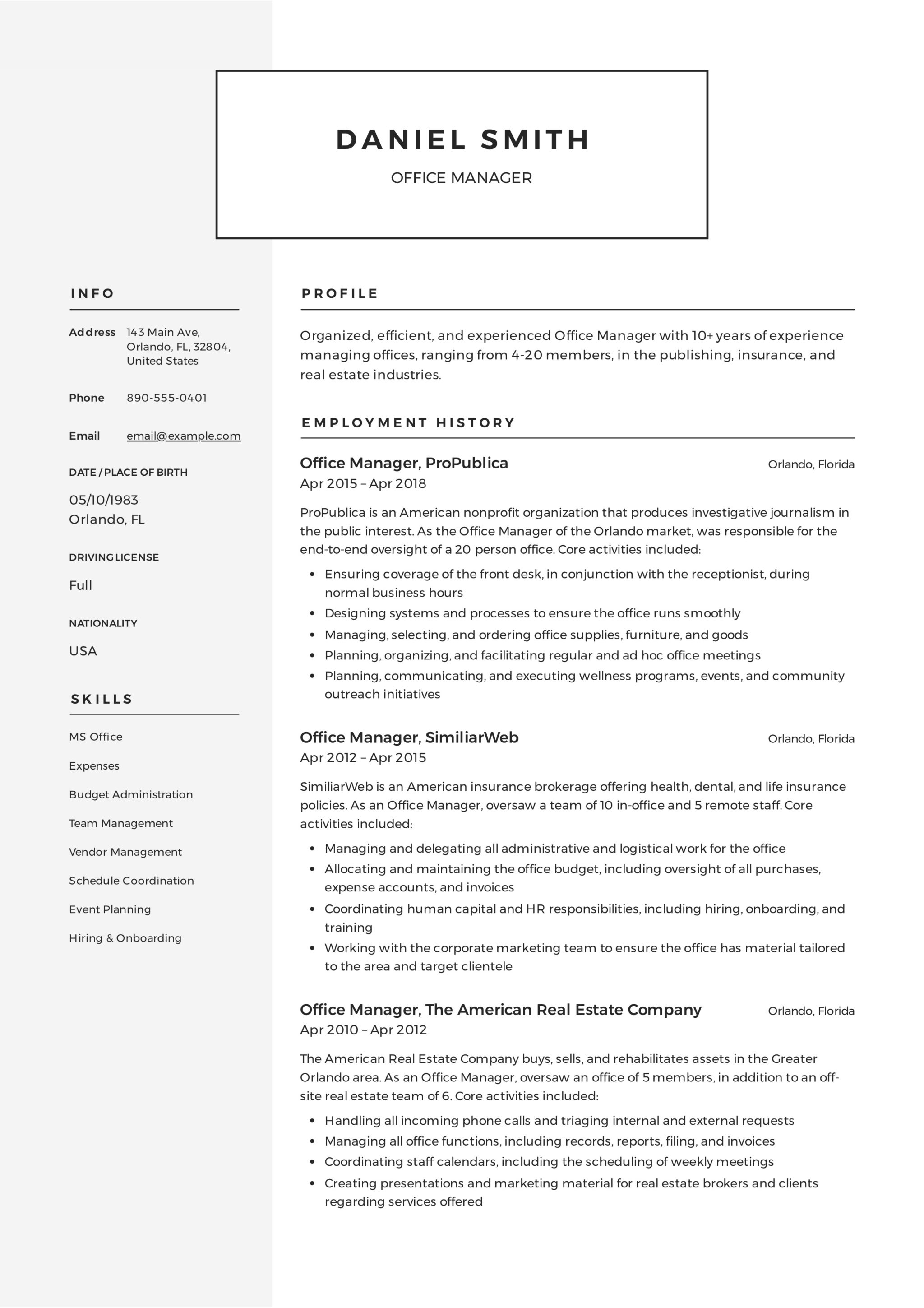 Guide Office Manager Resume 12 Samples Pdf 2019