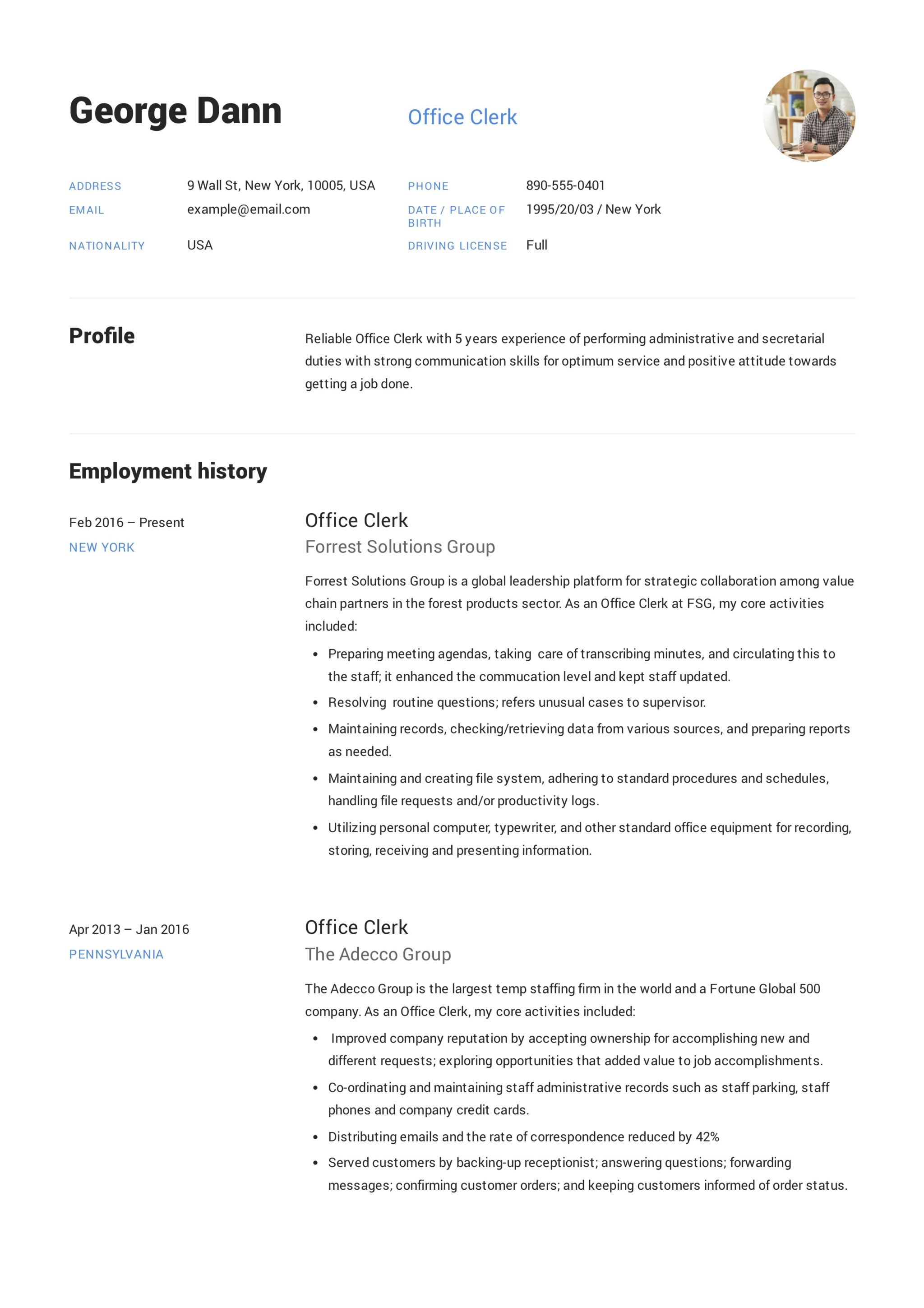 12 Office Clerk Resume Sample(s) - 2018 (Free Downloads)