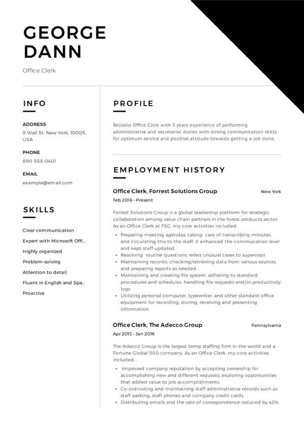 12 office clerk resume sample s