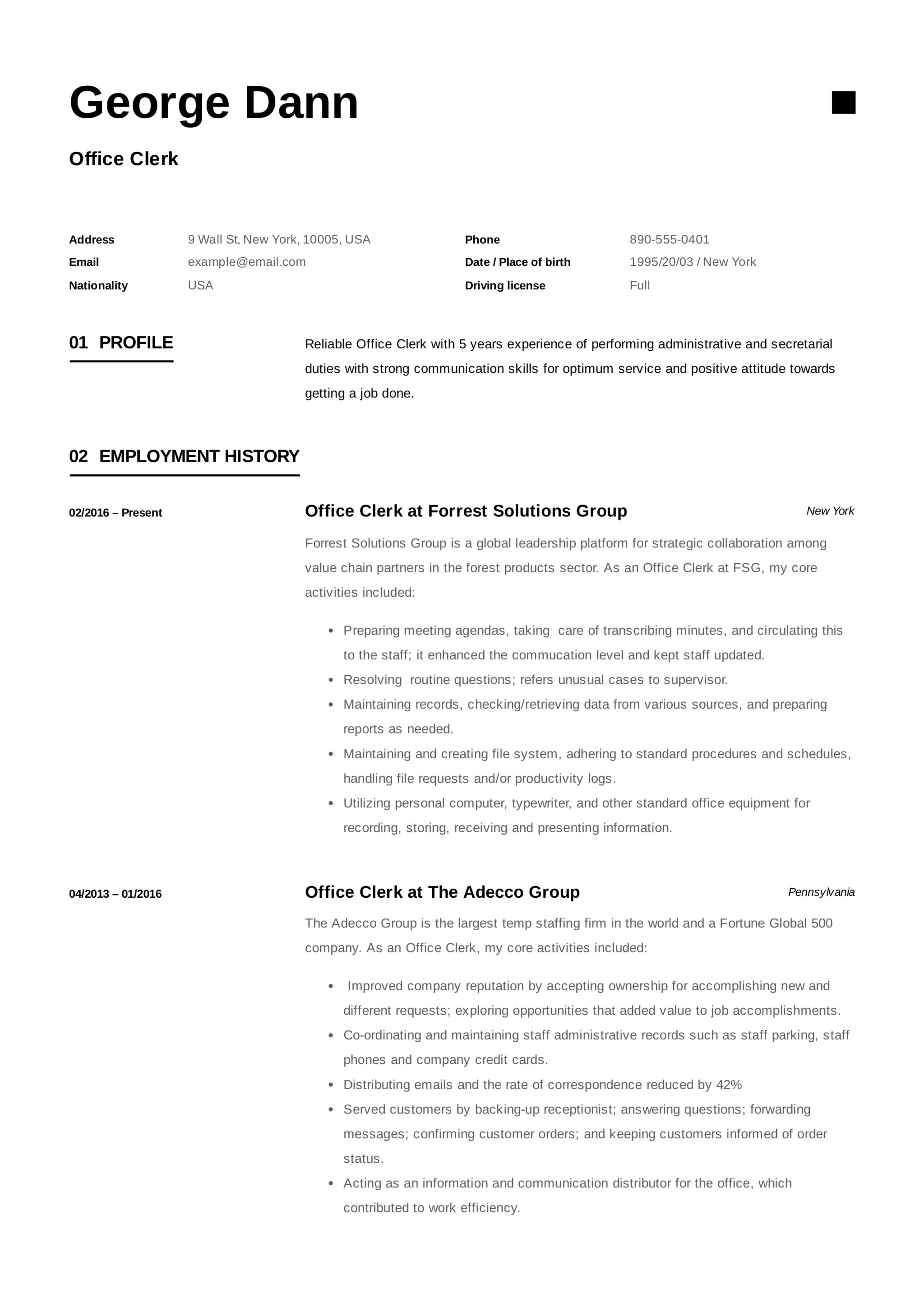full guide  office clerk resume   12  samples