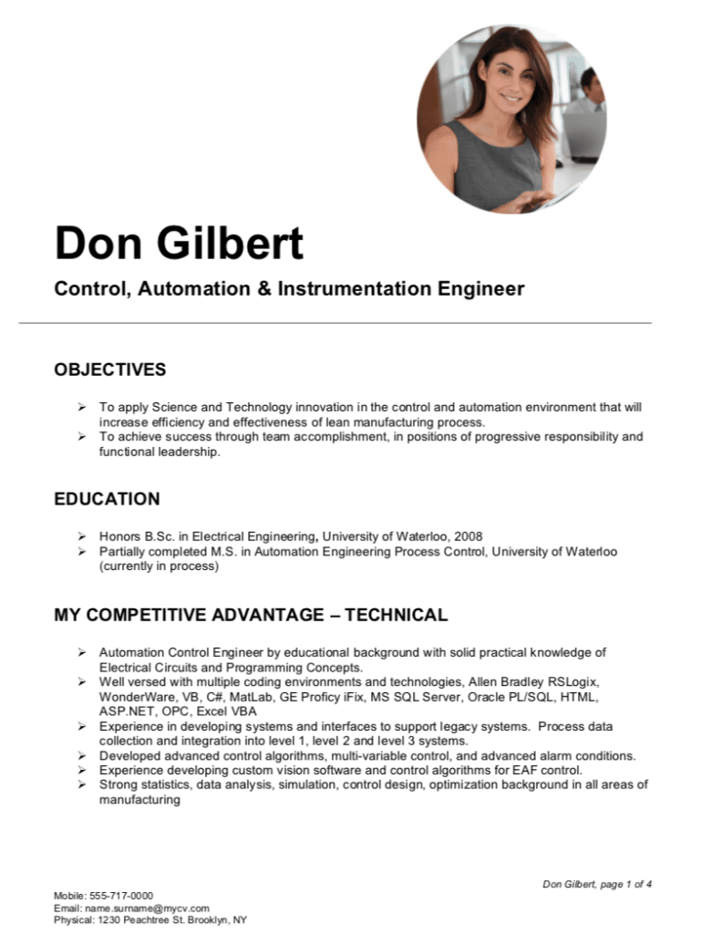Automation Control & Instrumentation Engineer Resume