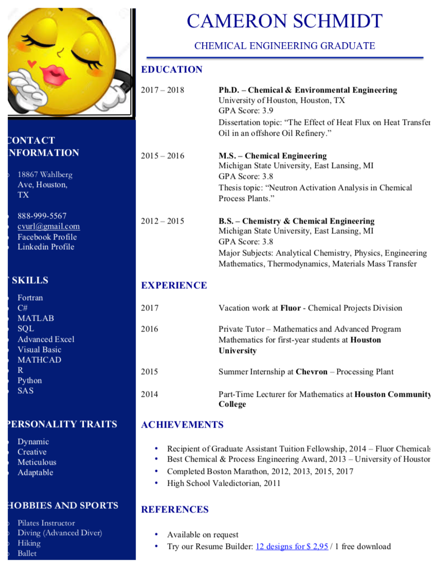 Chemical Engineering Resume Sample (Guide & Template)