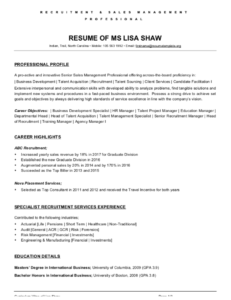 Recruitment Sales Manager Resume
