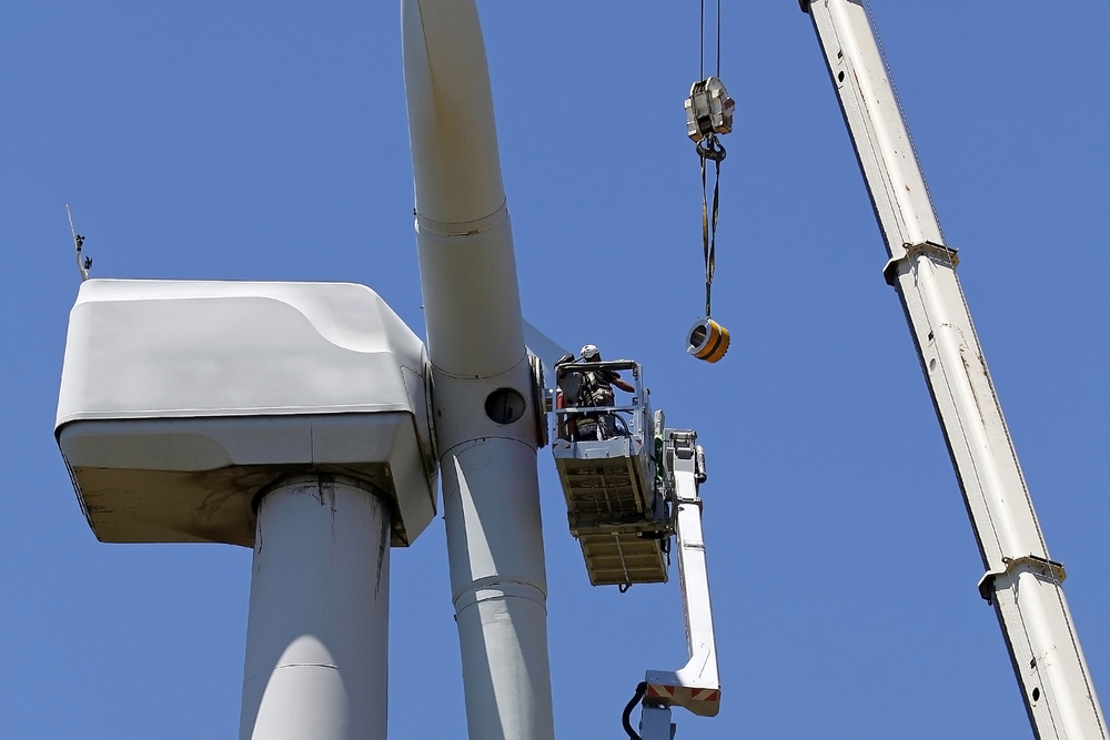 wind turbine technicians working on a turbine