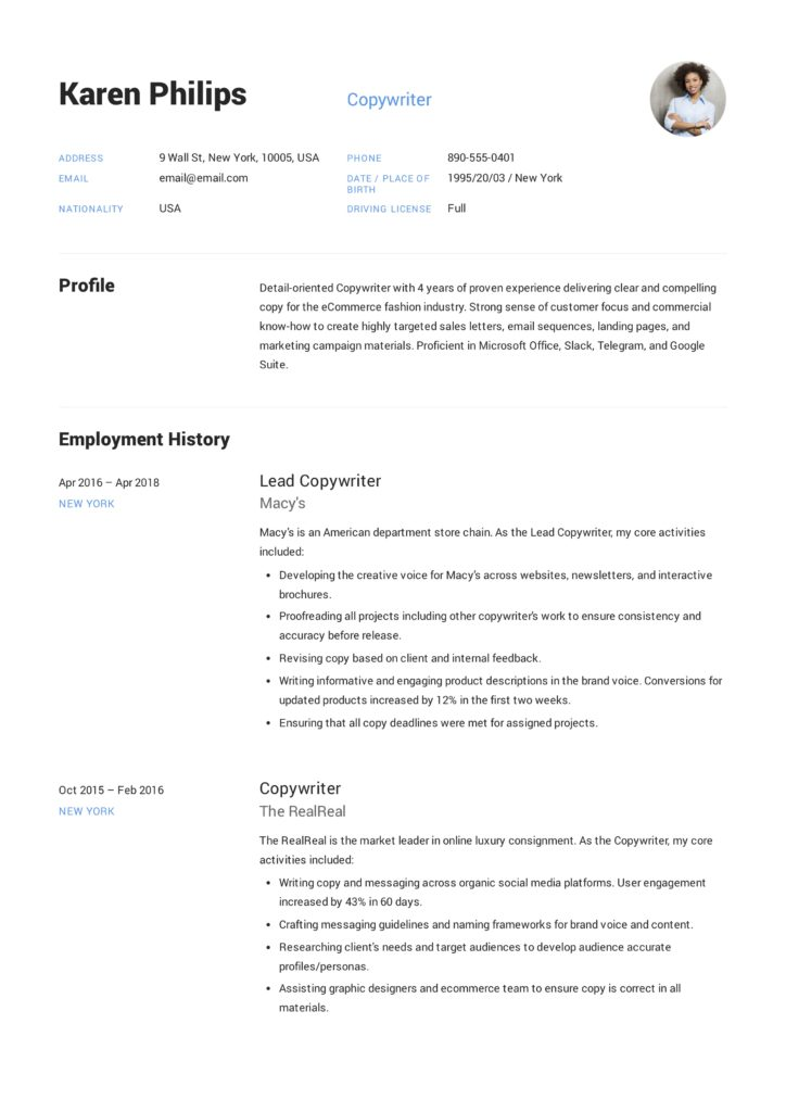 Copywriter Resume Example (9)