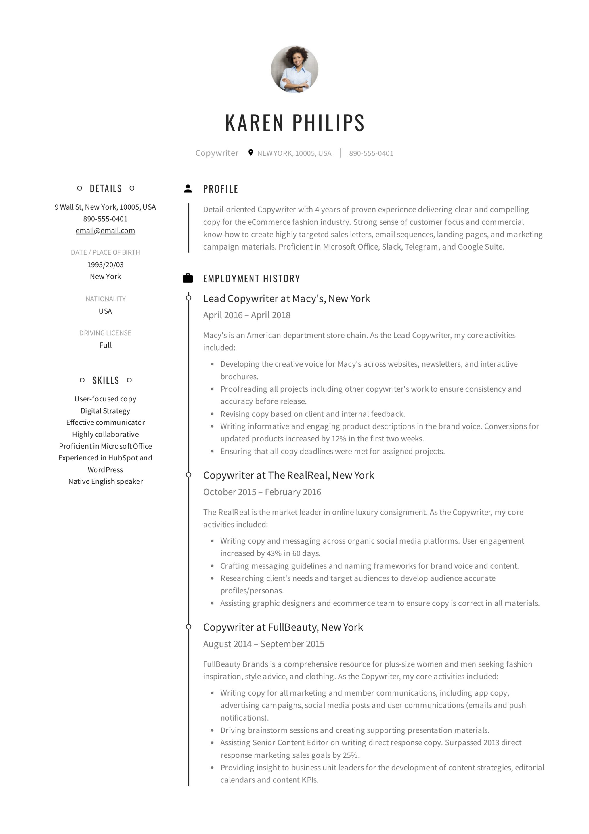 Copywriter Resume Sample