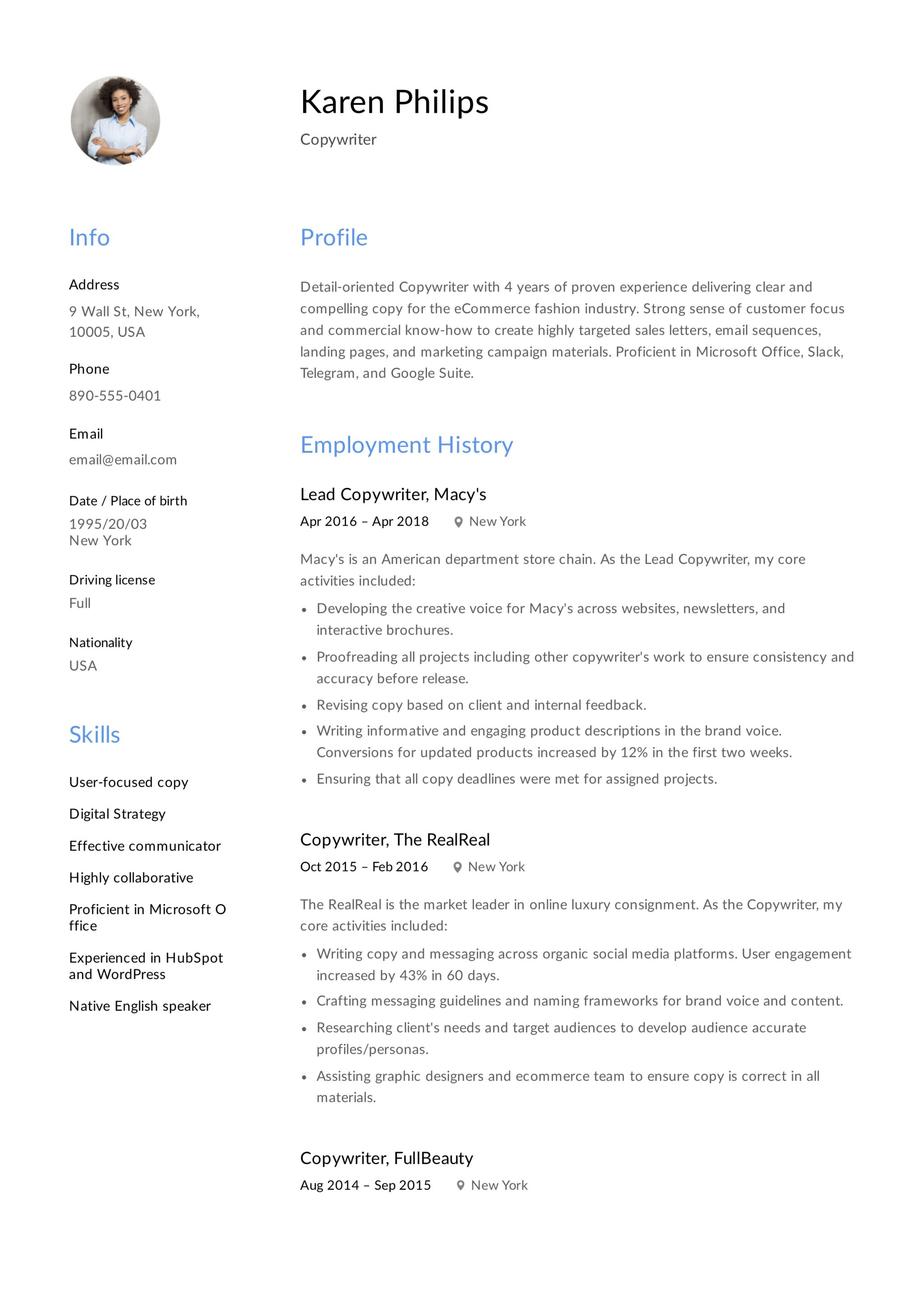 Copywriter Resume Template (8)