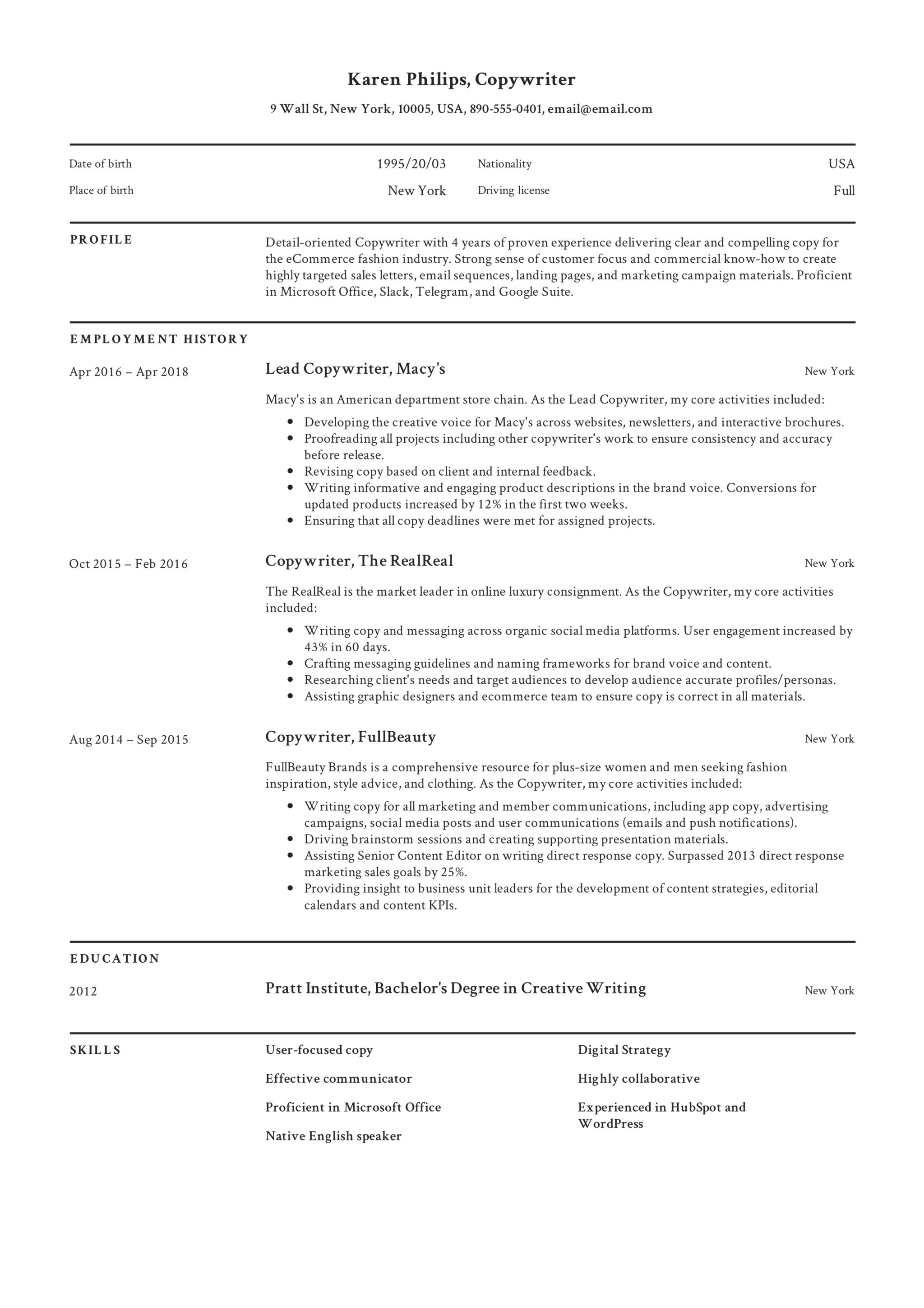 guide   12 different copywriter resume samples