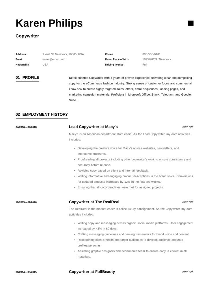 Example Copywriter Resume(10)