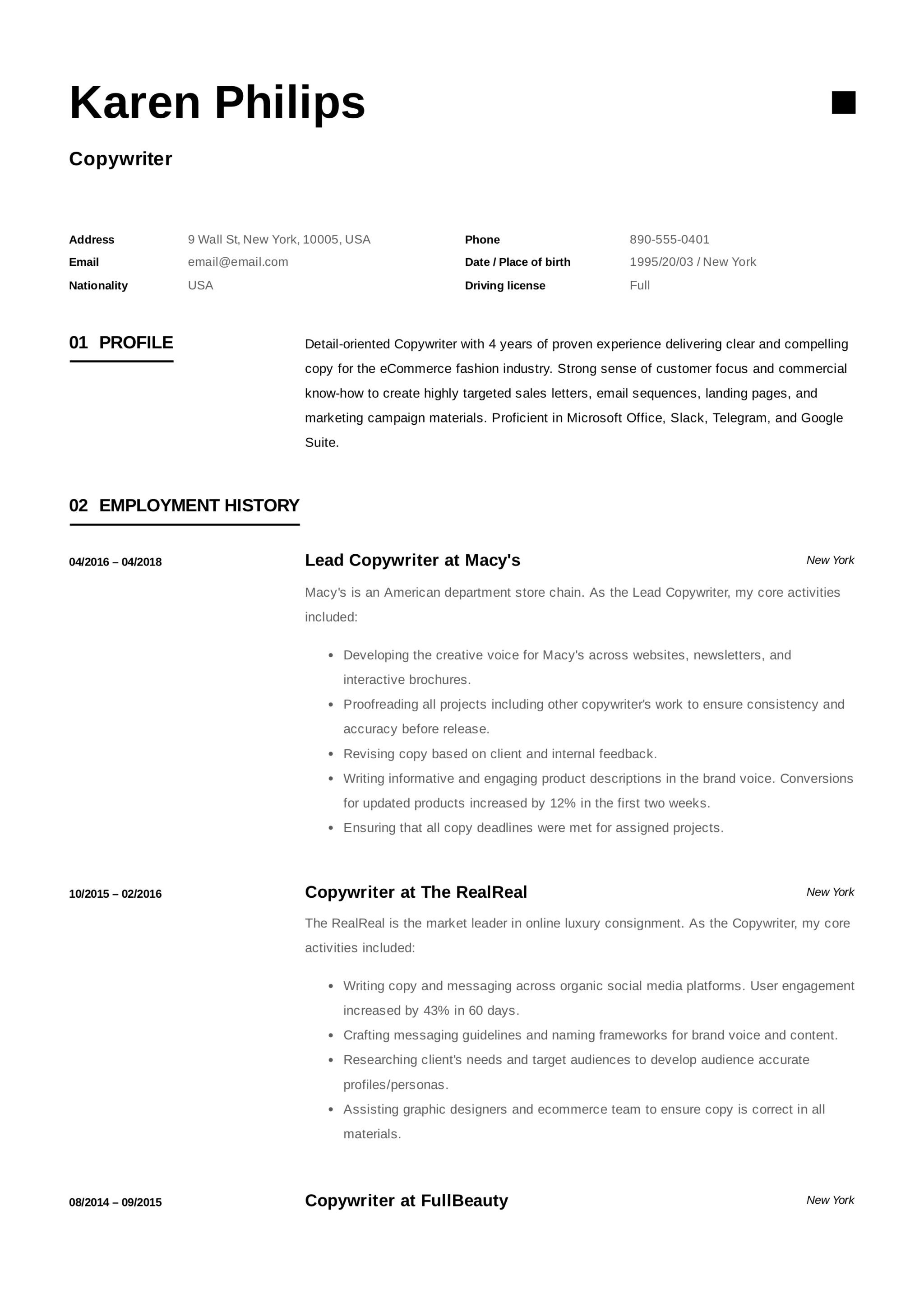 12 Different Copywriter Resume Samples 2018 Free