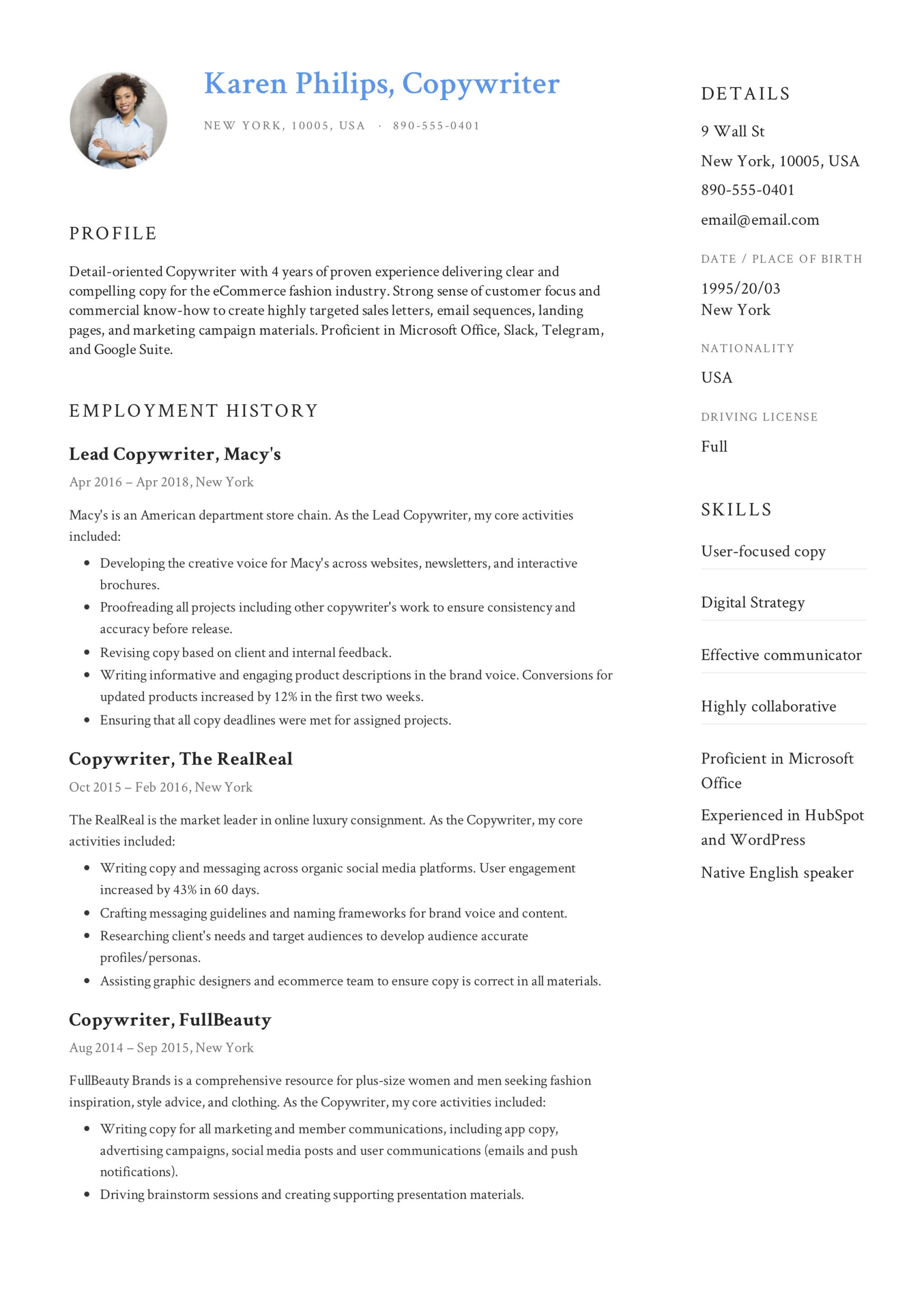Guide + 12 Different Copywriter Resume Samples | 2019 | PDF |