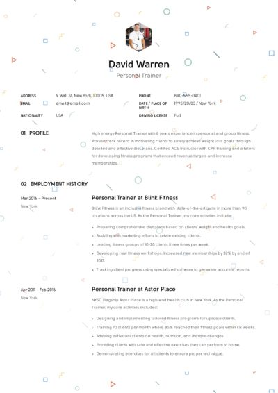 Example Resume - Personal Trainer