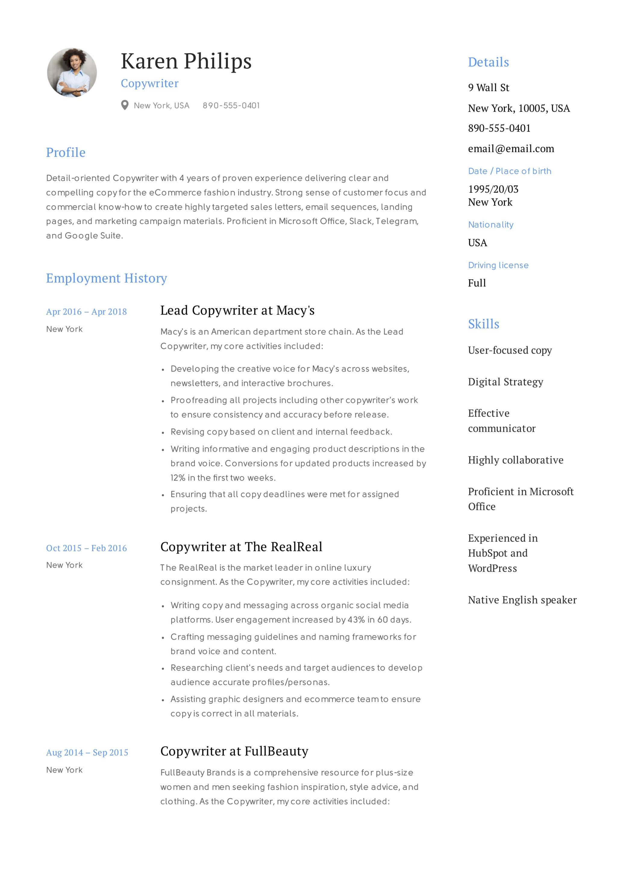 Karen Philips Resume Copywriter 6