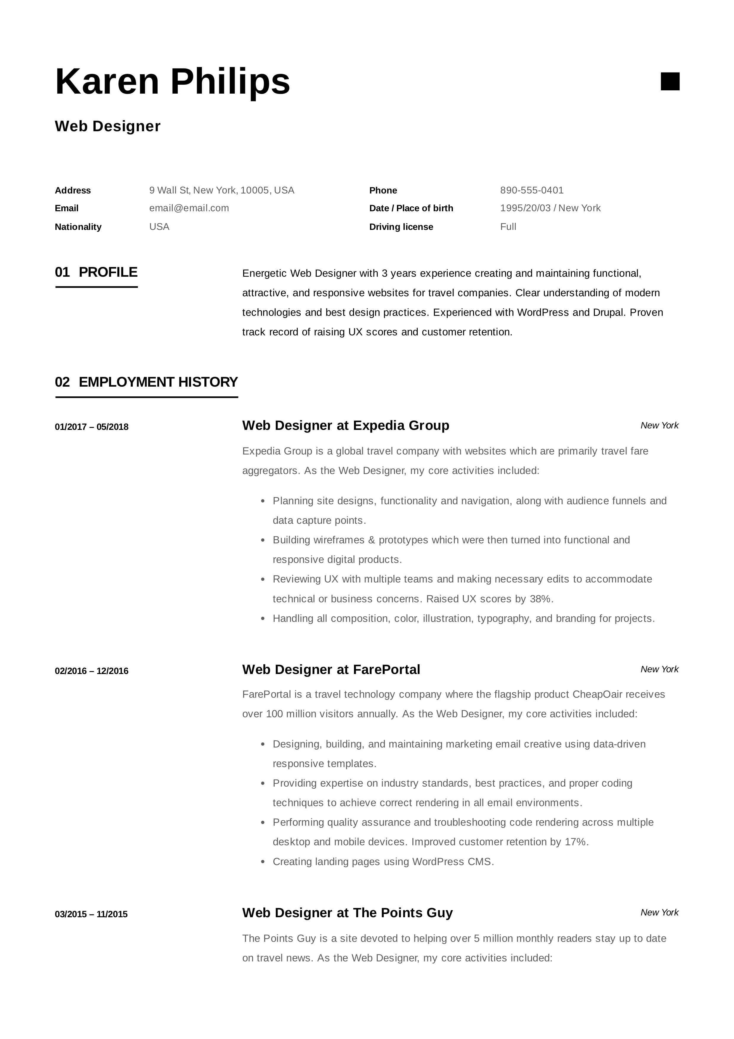 12 free web designer resume examples     12 samples
