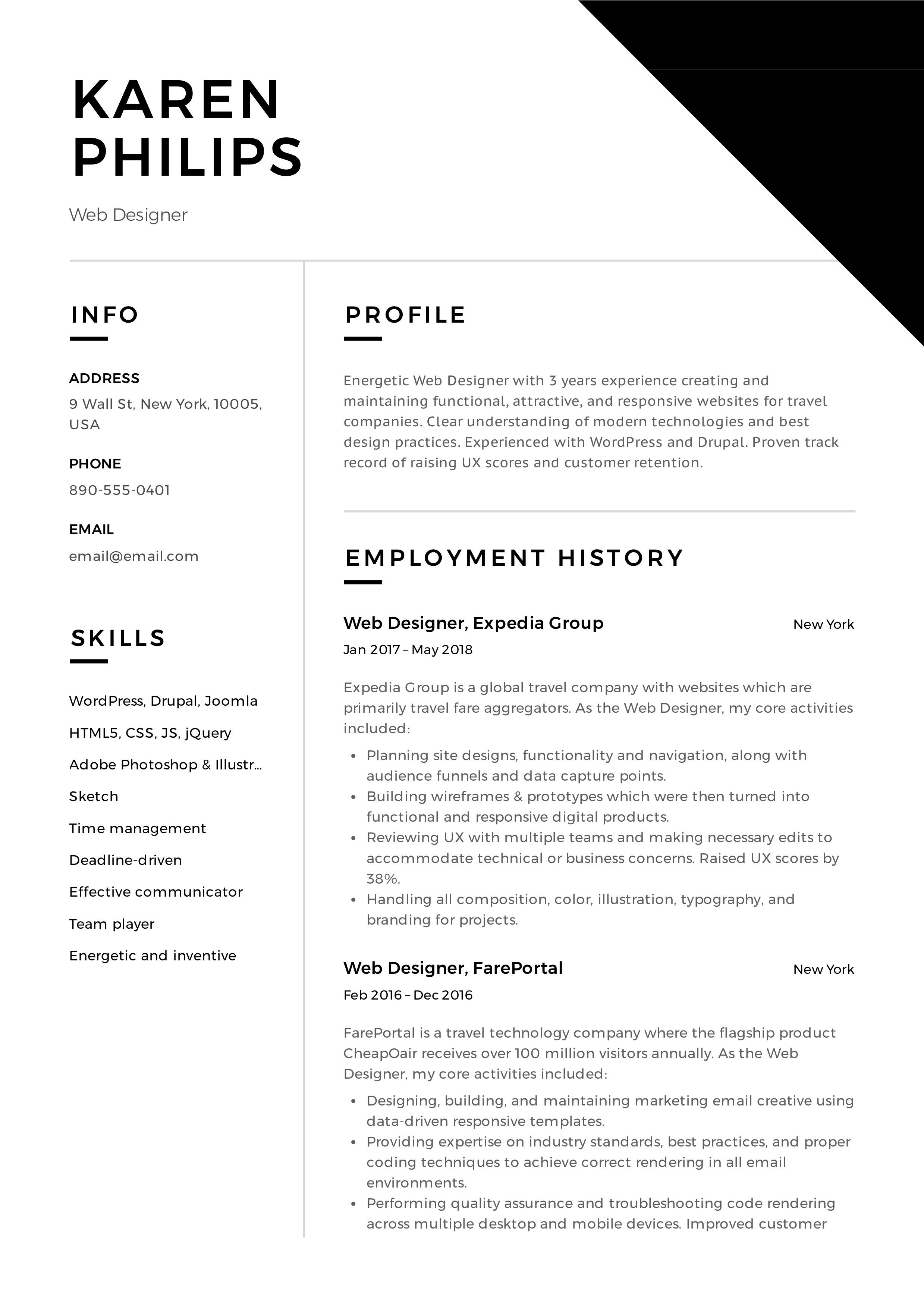 12 free web designer resume examples     12 samples