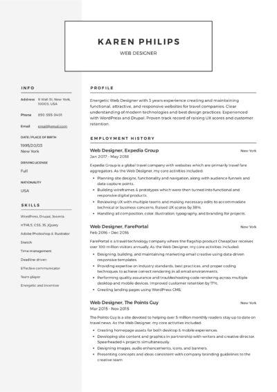 Classic modern Web designer resume