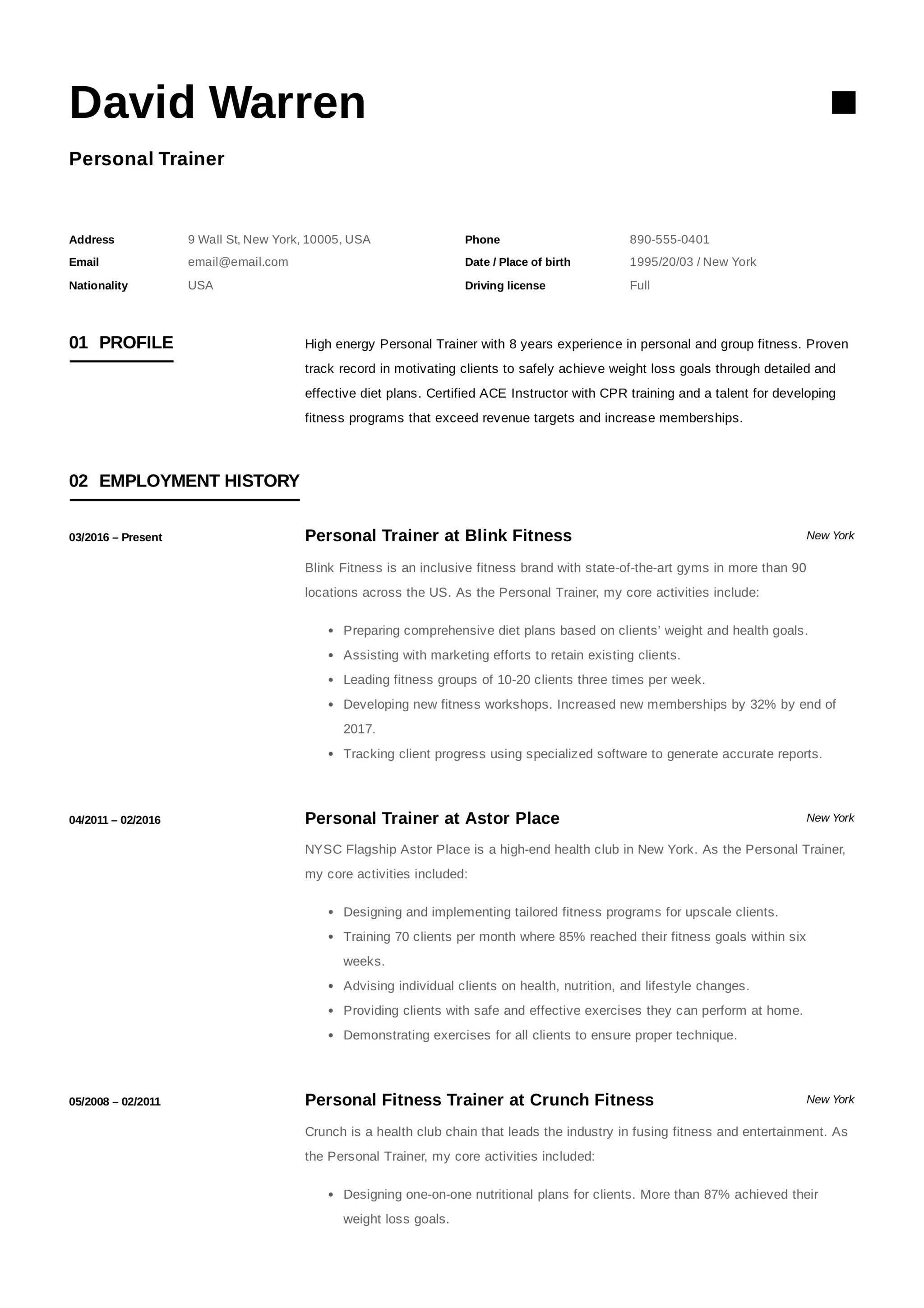 12 Personal Trainer Resume Samples 2018 Free